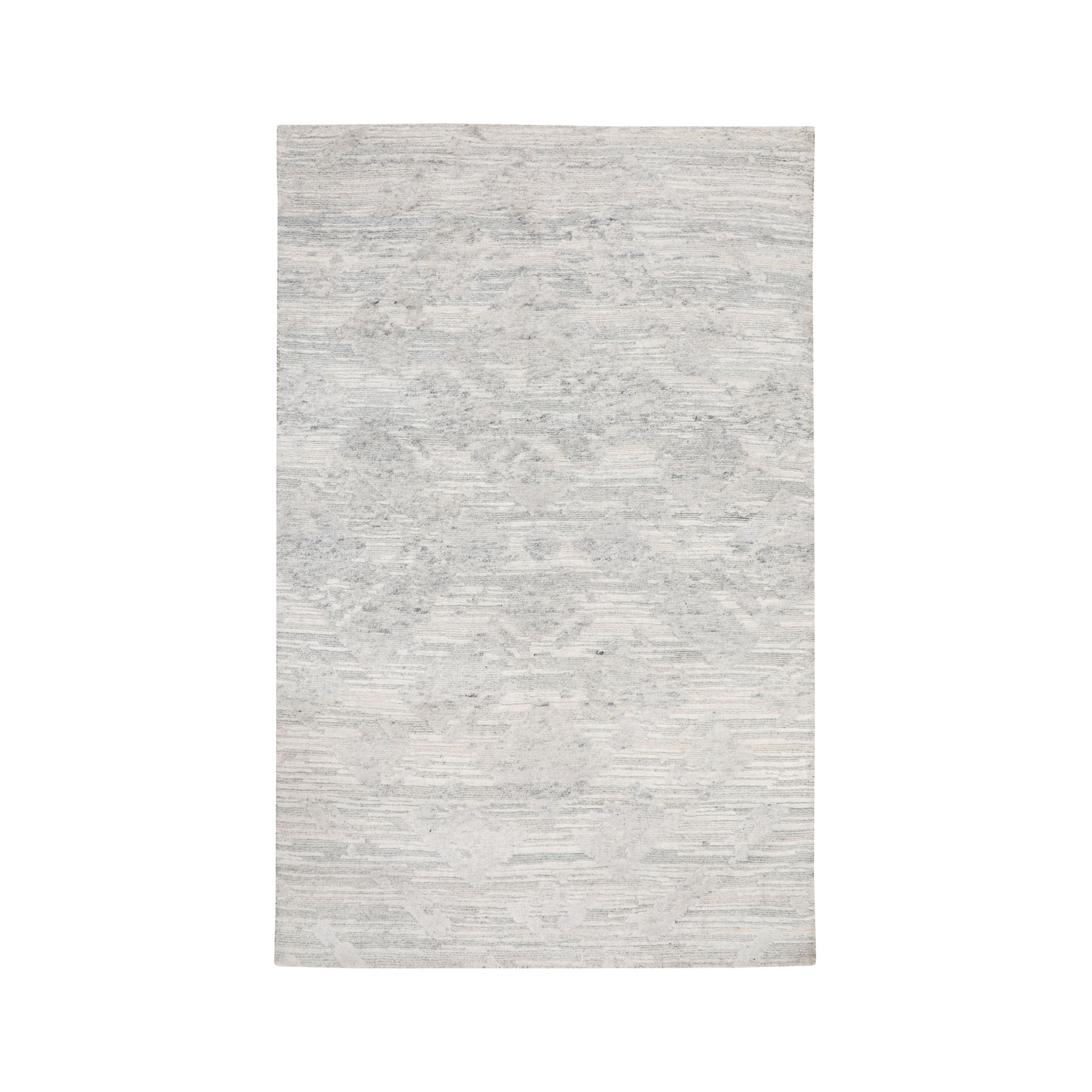 "3'X5'1""  Ivory Hand Spun Undyed Natural Wool Modern Hand Knotted Oriental Rug moae8bd0"