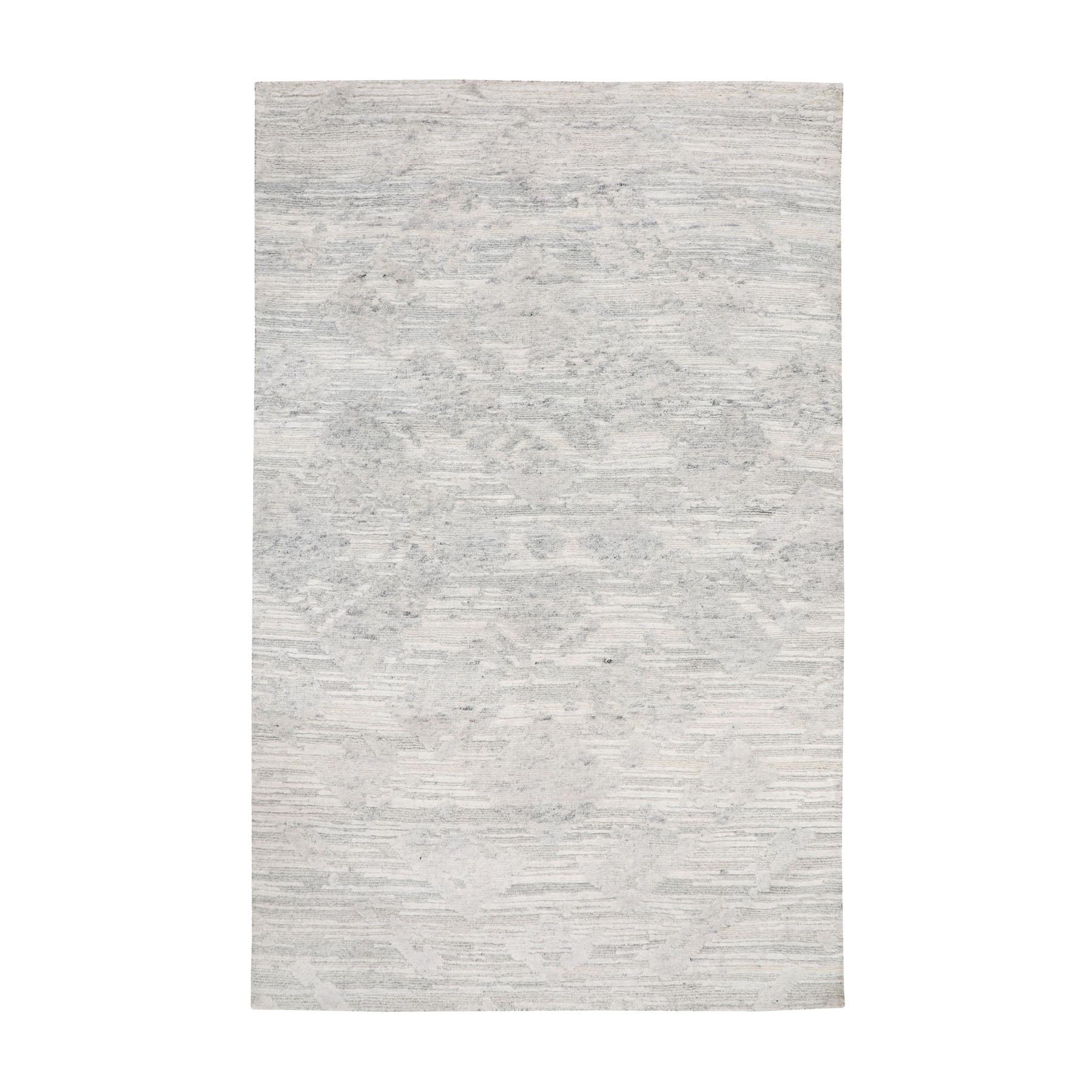 "3'X5'3"" Ivory Hand Spun Undyed Natural Wool Modern Hand Knotted Oriental Rug moae8bdb"