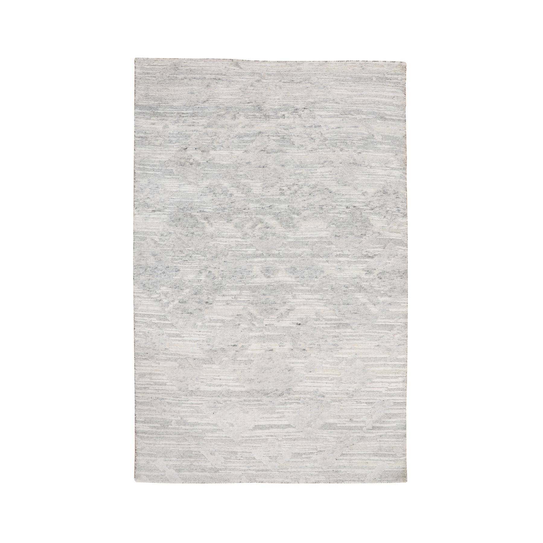 3'X5' Ivory Hand Spun Undyed Natural Wool Modern Hand Knotted Oriental Rug moae8bdc
