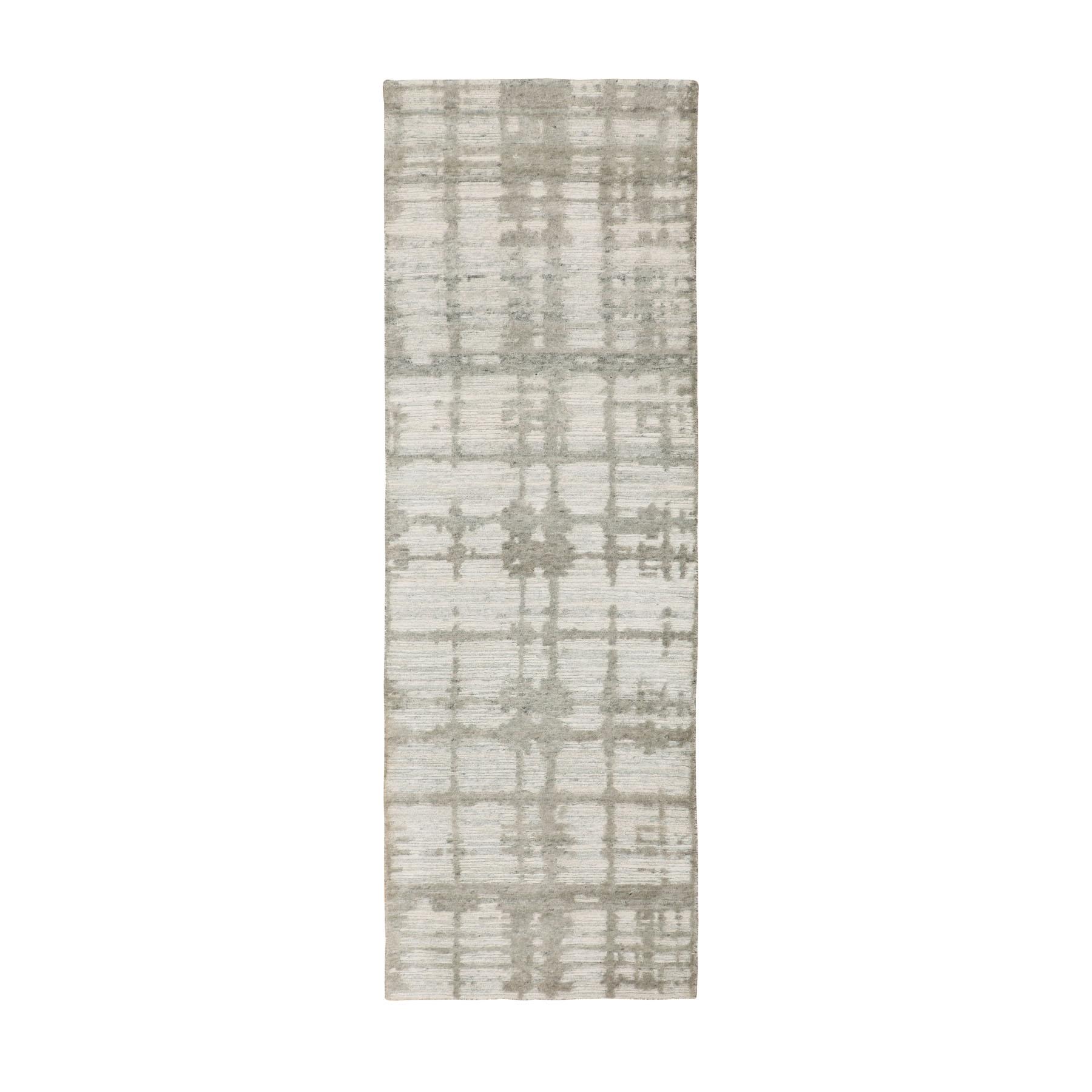 """2'6""""X8' Hand Spun Undyed Natural Wool Runner Modern Oriental Hand Knotted Oriental Rug moae8bdd"""