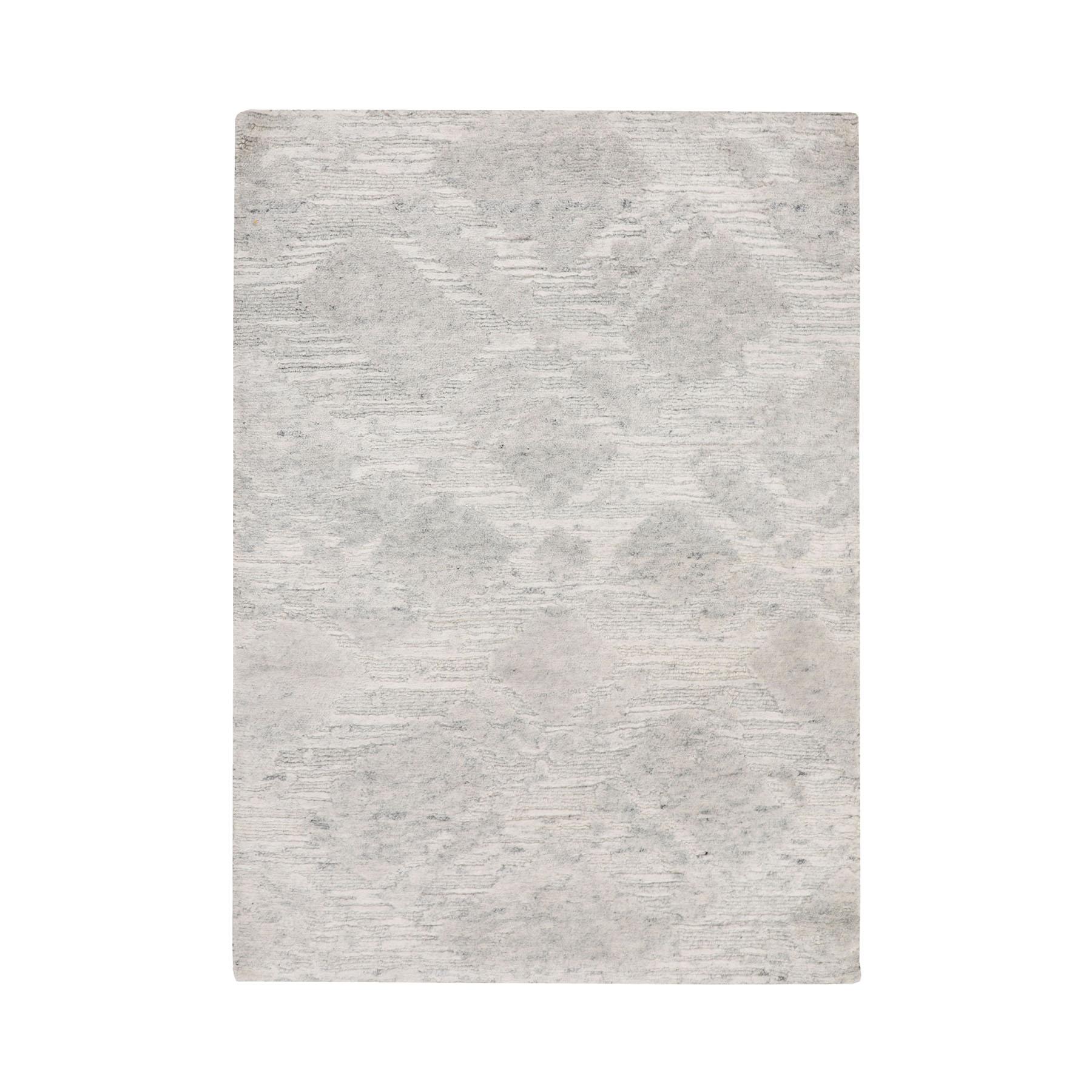 "2'X2'10"" Ivory Hand Spun Undyed Natural Wool Modern Hand Knotted Oriental Rug moae8bd7"