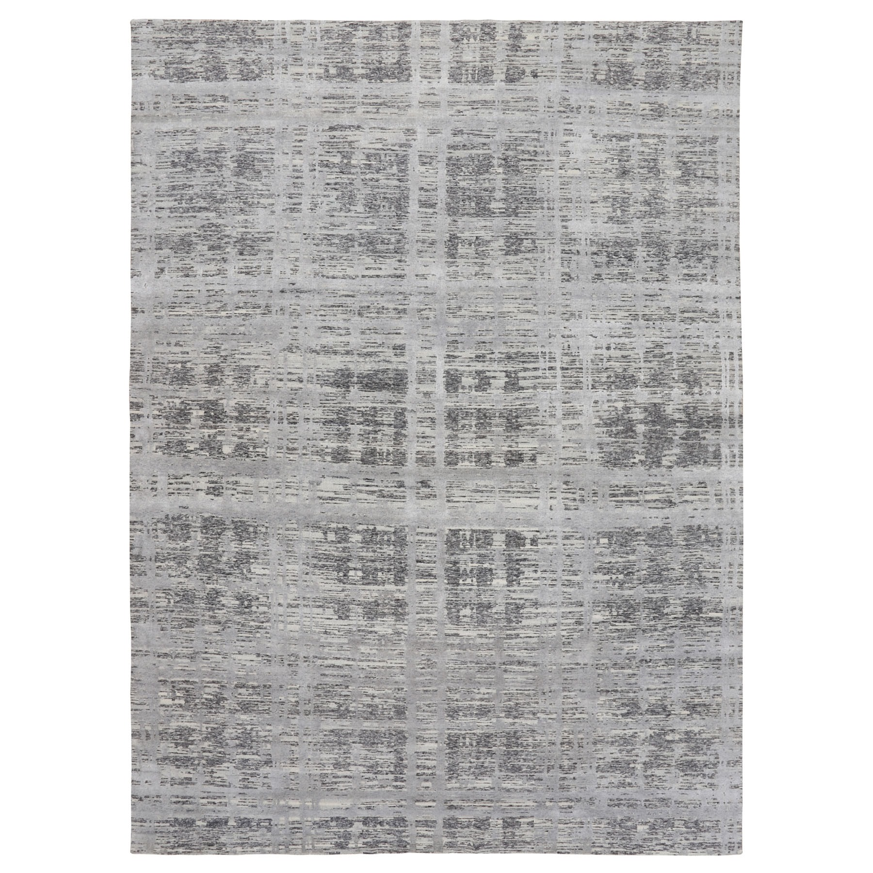 "11'10""X17'8"" Oversized Gray Hand Spun Undyed Natural Wool Modern Hand Knotted Oriental Rug moae8bd9"