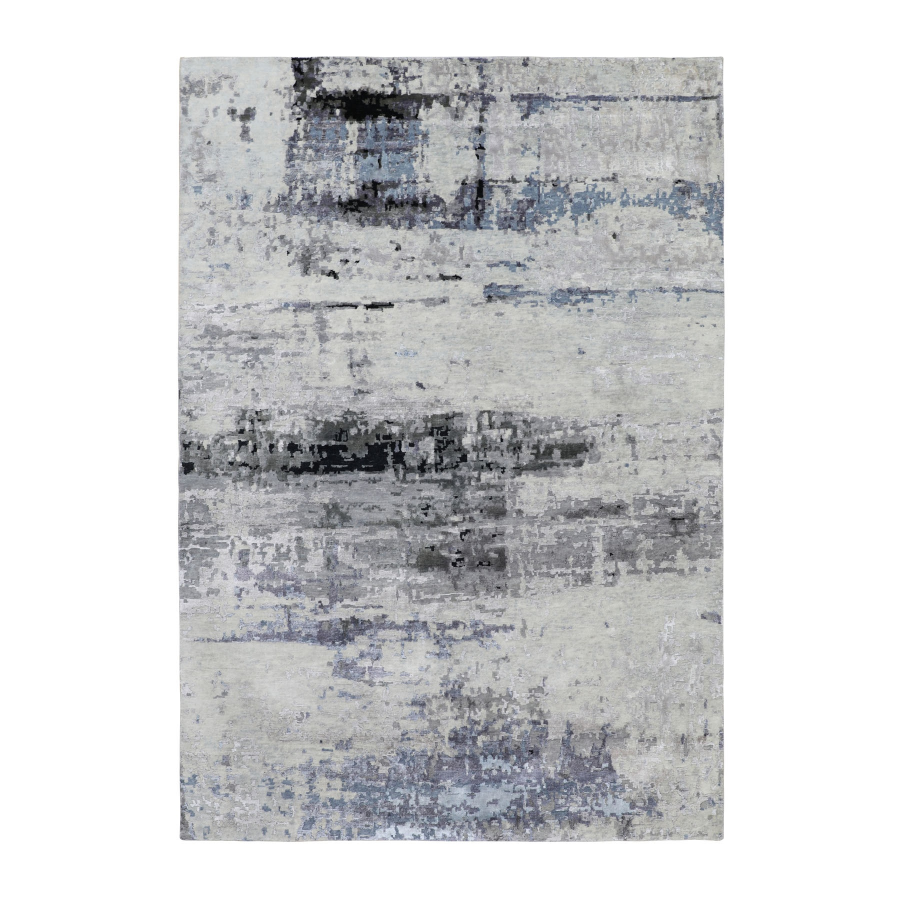 "6'1""x9' Gray Hi low Pile Abstract Design Wool And Silk Hand Knotted Oriental Rug"