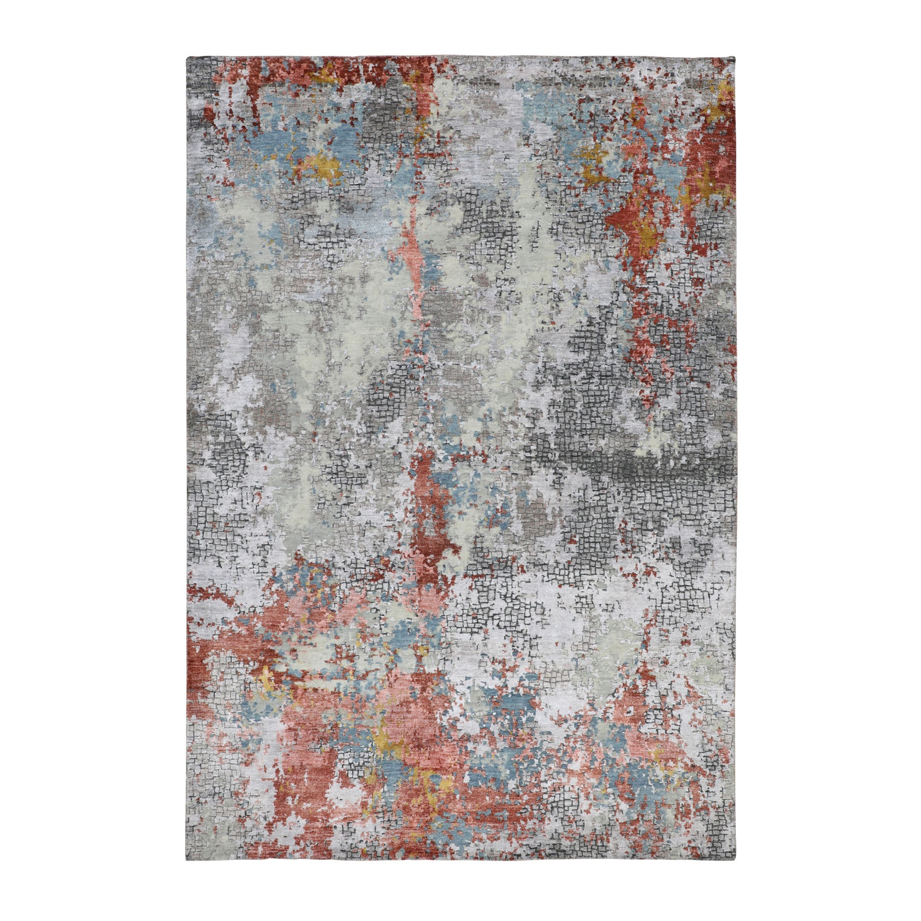 "6'x8'9"" Wool And Silk Abstract With Fire Mosaic Design Hand Knotted Oriental Rug"