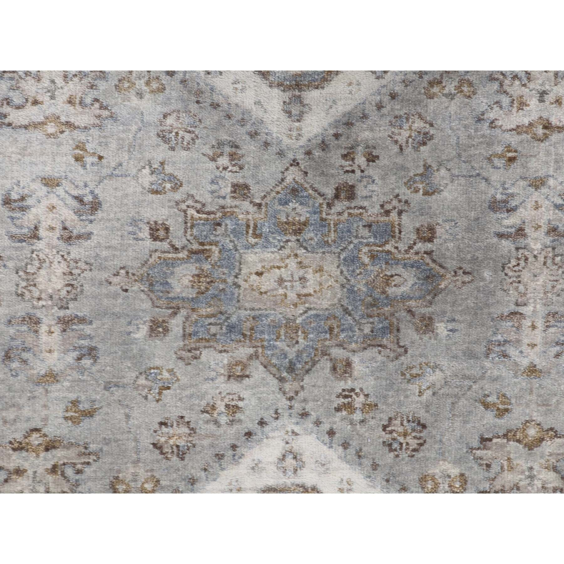 "5'1""x7' Gray Karajeh Design Pure Wool Hand Knotted Oriental Rug"