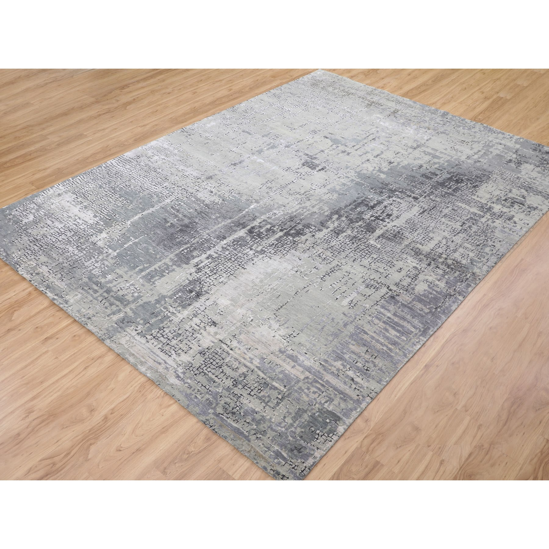 "8'9""x11'10"" Abstract Wool And Silk With Mosaic Design Hand Knotted Oriental Rug"