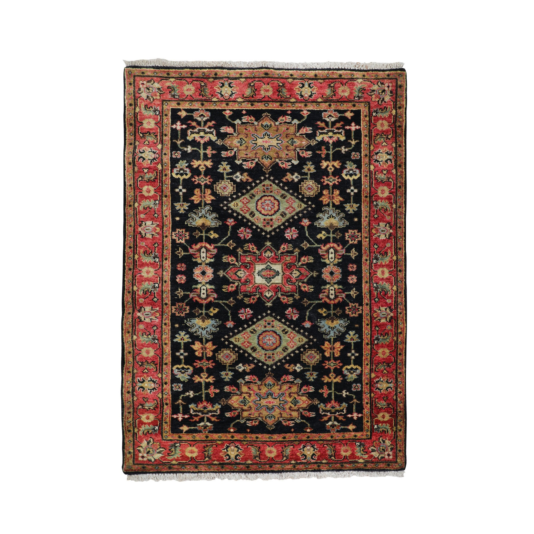 "3'1""x5' Black Karajeh Design Runner Hand Knotted Pure Wool Oriental Rug"