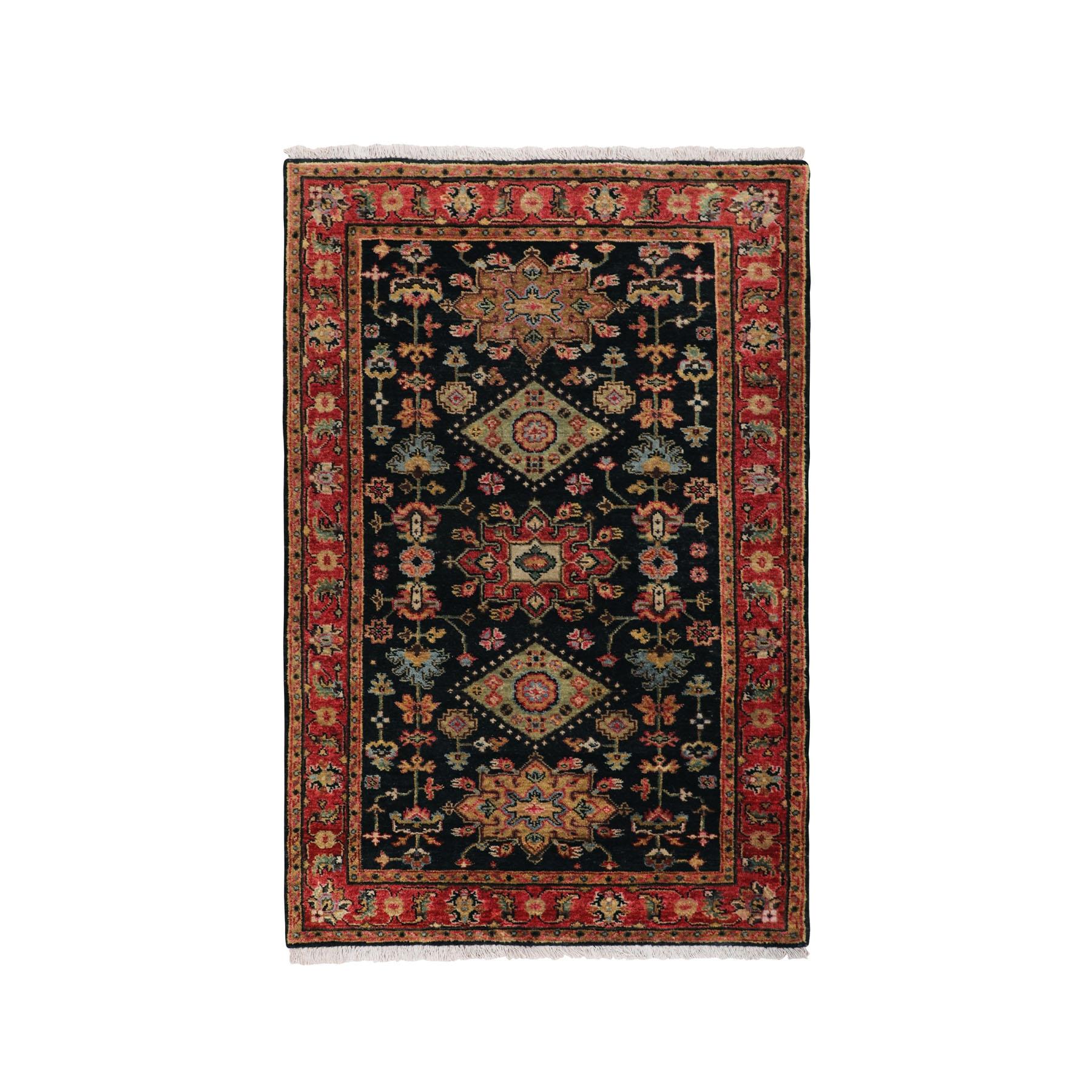 3'x5' Black Karajeh Design Hand Knotted Pure Wool Oriental Rug