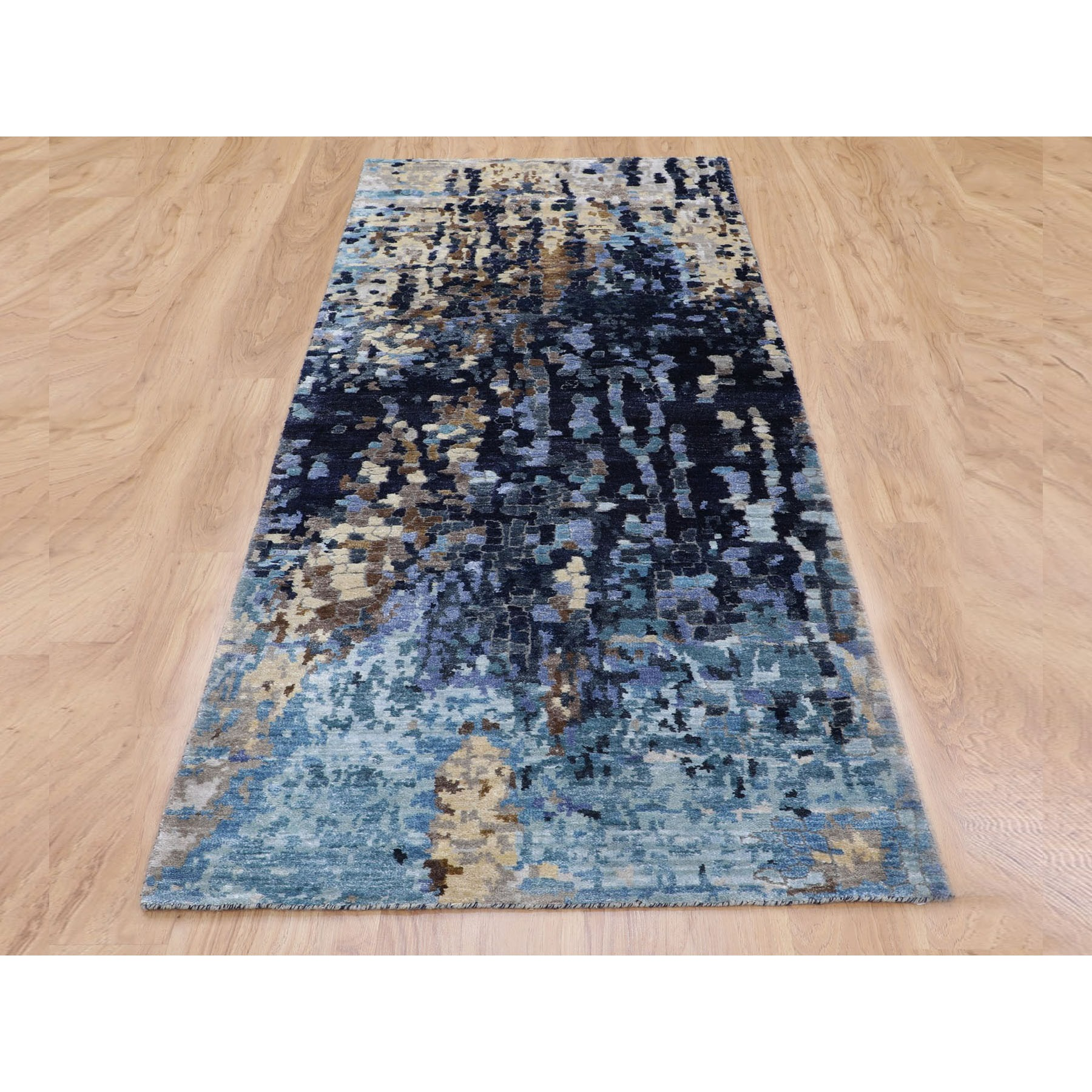 """2'5""""x7'10"""" Blue Mosaic Design Runner Wool and Silk Hand Knotted Oriental Rug"""