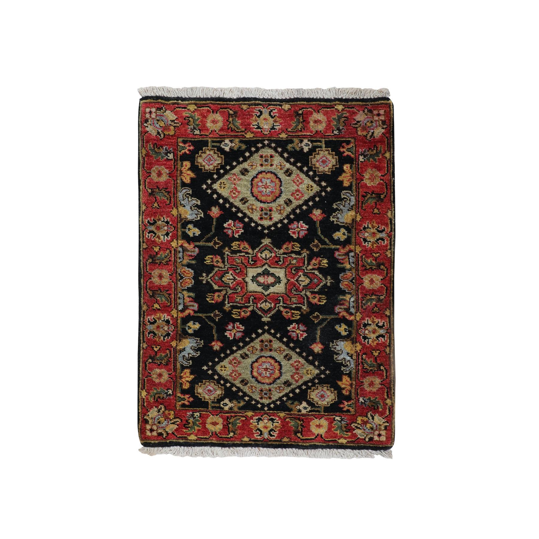 "2'1""x3' Black Karajeh Design Hand Knotted Pure Wool Oriental Rug"