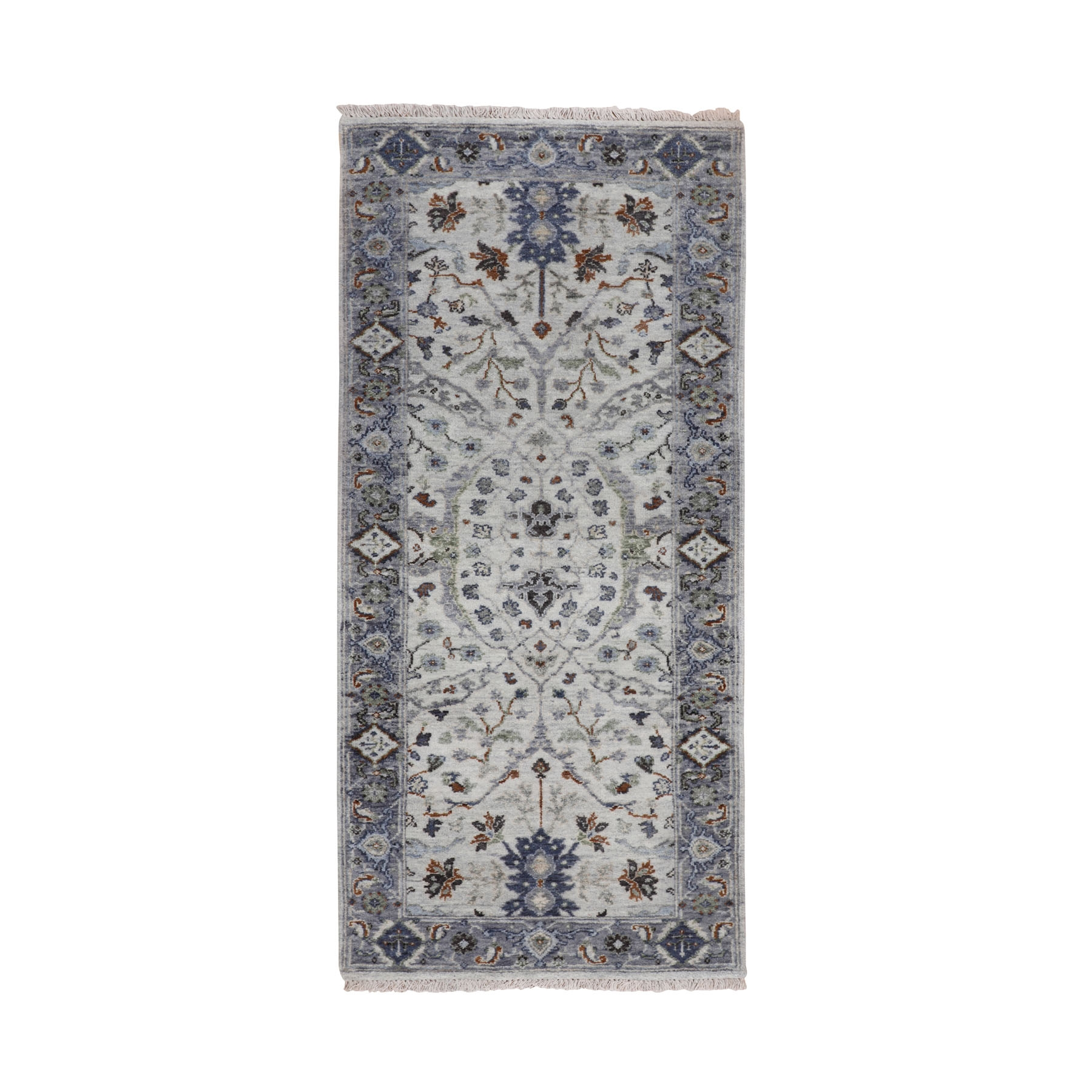 "2'7""x5'10"" Dense weave Oushak Gray With Pop Of Color Runner Hand Knotted Oriental Rug"
