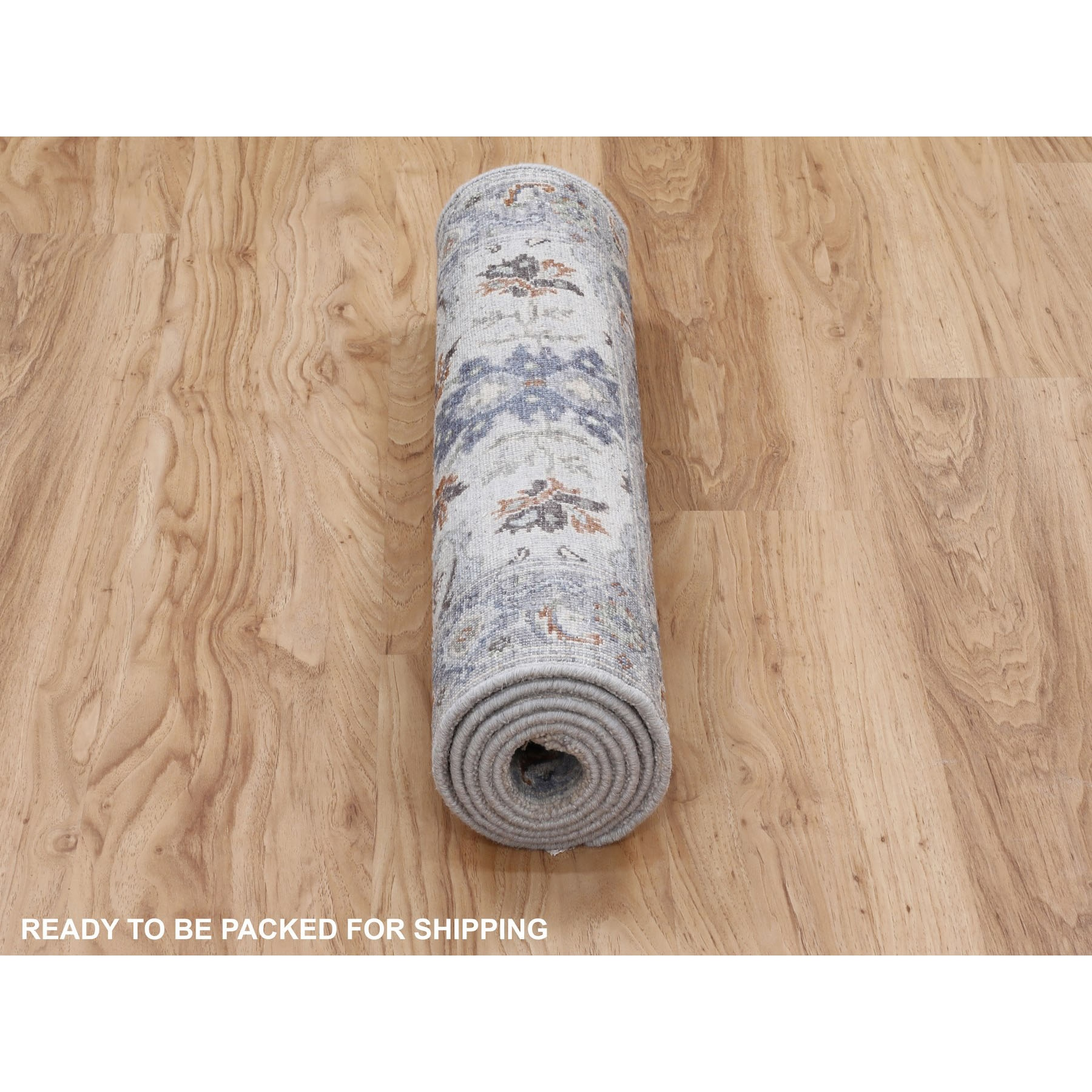 """2'7""""x5'10"""" Dense weave Oushak Gray With Pop Of Color Runner Hand Knotted Oriental Rug"""
