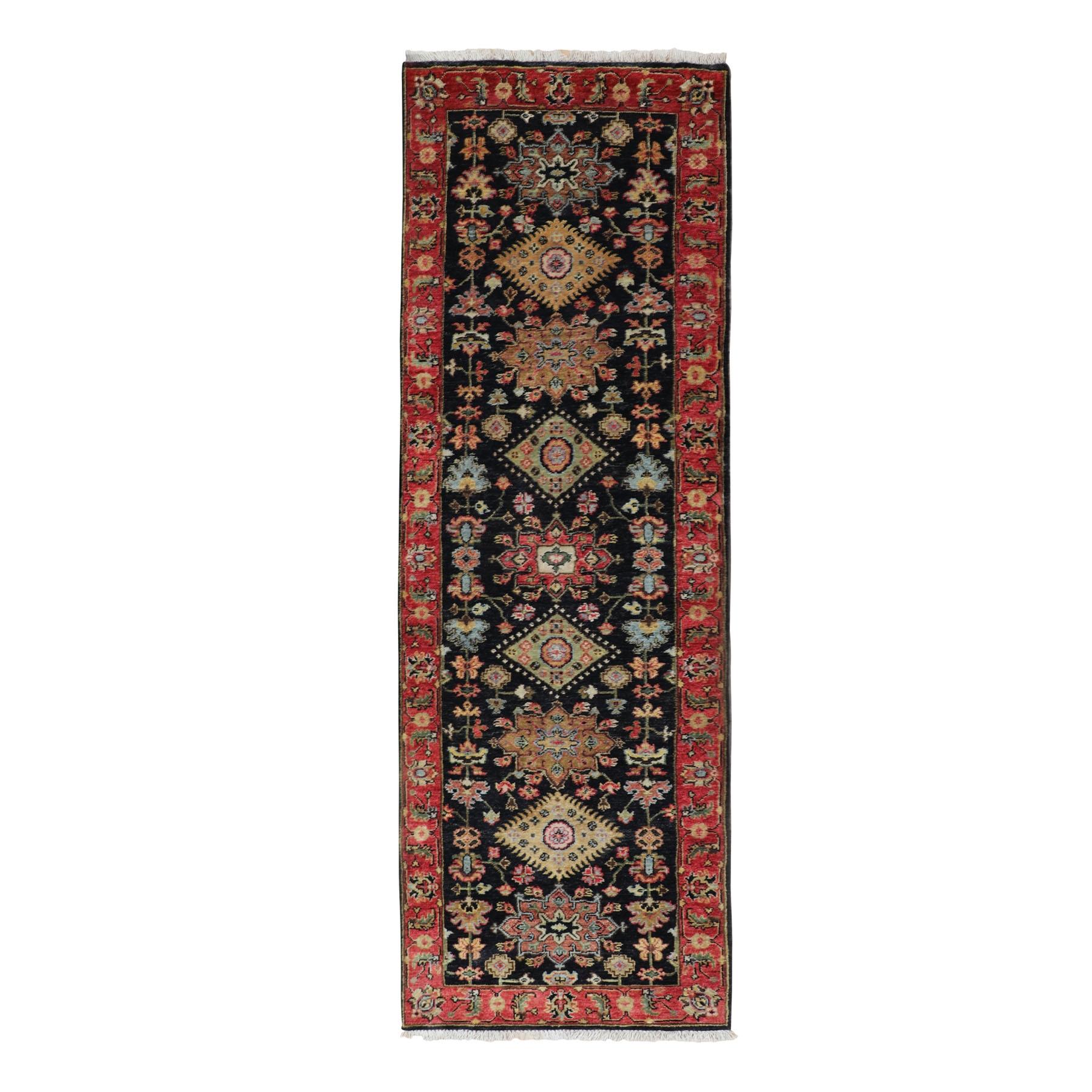 "2'7""x8' Black Karajeh Design Runner Hand Knotted Pure Wool Oriental Rug"