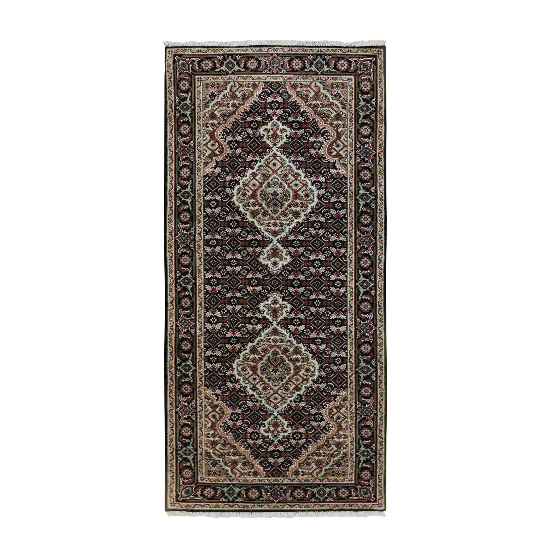 "2'8""X6'1"" Black Tabriz Mahi Fish Design Wool And Silk Runner Hand Knotted Oriental Rug moae8c06"