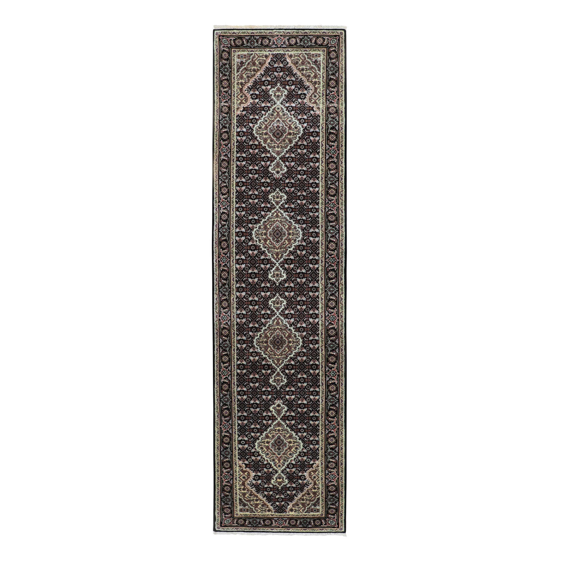 "2'5""X10'1"" Black Tabriz Mahi Fish Design Wool And Silk Runner Hand Knotted Oriental Rug moae8c08"