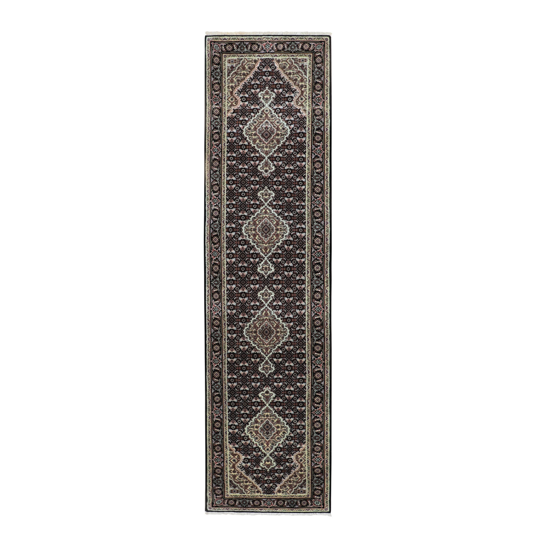 "2'6""X10'1"" Black Tabriz Mahi Fish Design Wool And Silk Runner Hand Knotted Oriental Rug moae8c09"