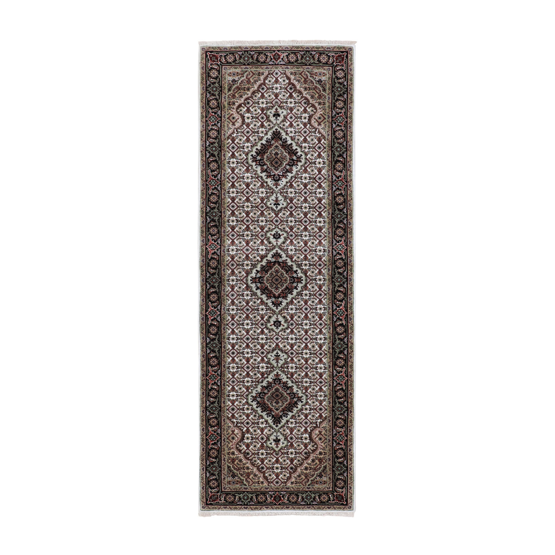 "2'7""X8'2"" Ivory Tabriz Mahi Fish Design Wool And Silk Runner Hand Knotted Oriental Rug moae8cac"