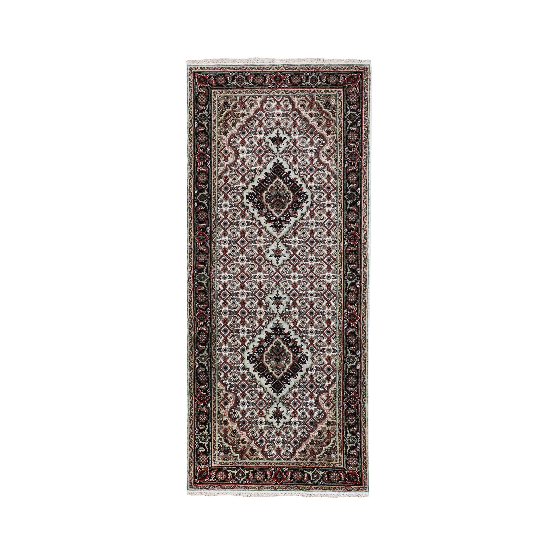 "2'6""X6' Ivory Tabriz Mahi Fish Design Wool And Silk Runner Hand Knotted Oriental Rug moae8cae"