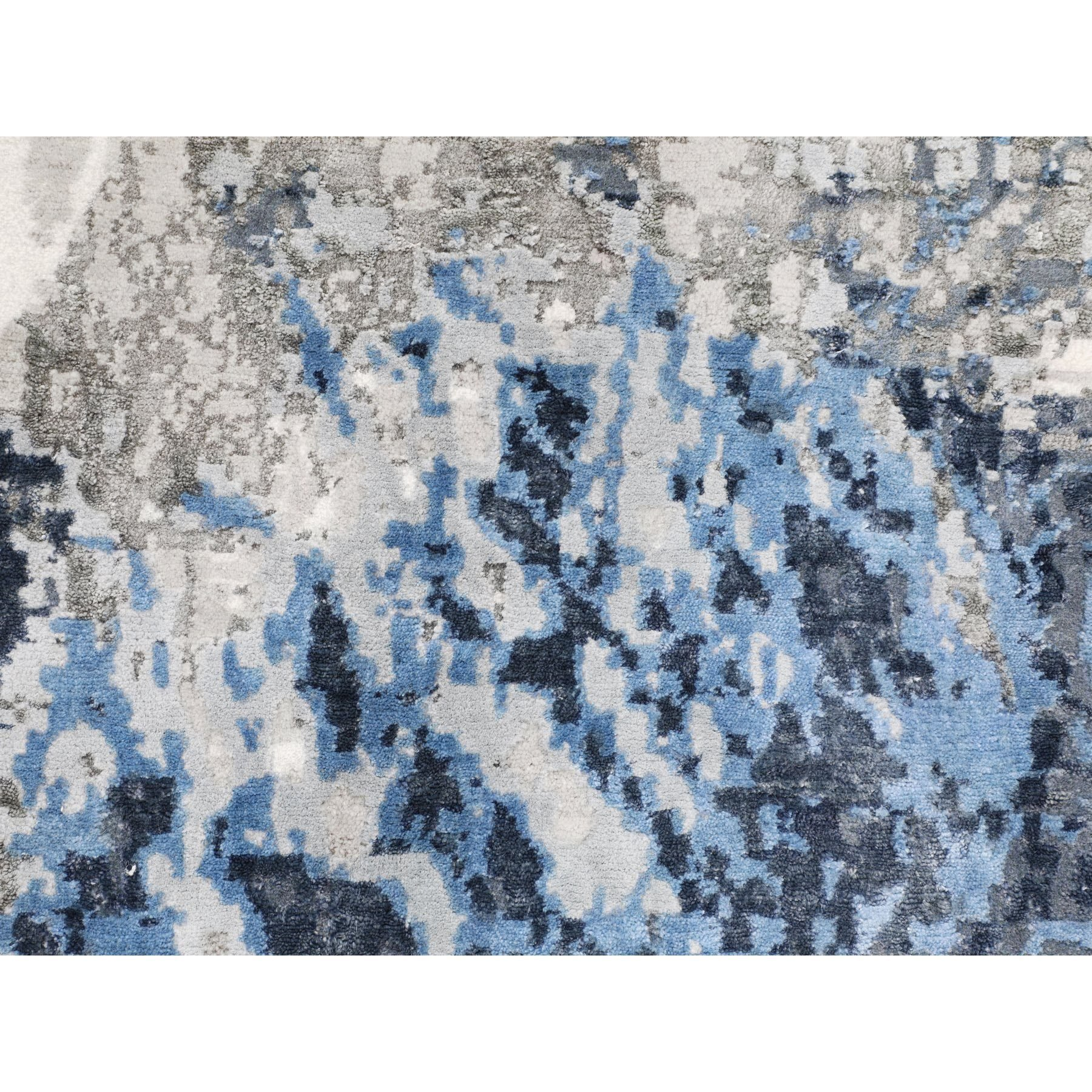 """3'1""""x5' Abstract Design Wool And Silk Hi-low Pile Hand Knotted Oriental Rug"""