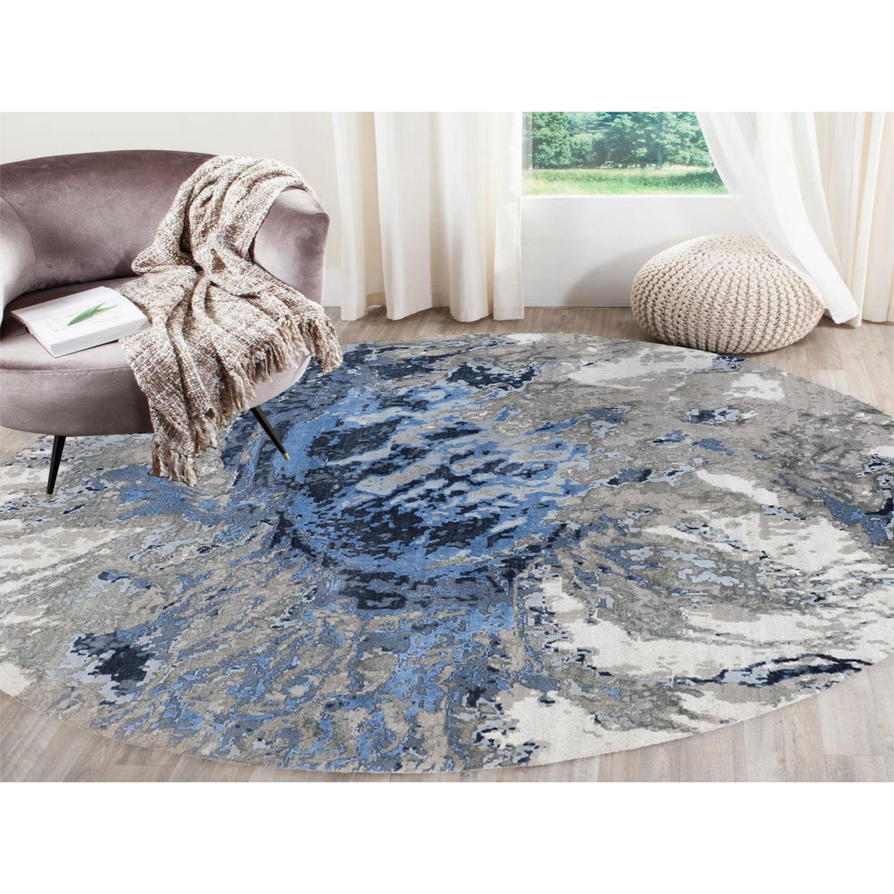 8'x8' Round Abstract Design Wool And Silk Hi-low Pile Hand Knotted Oriental Rug