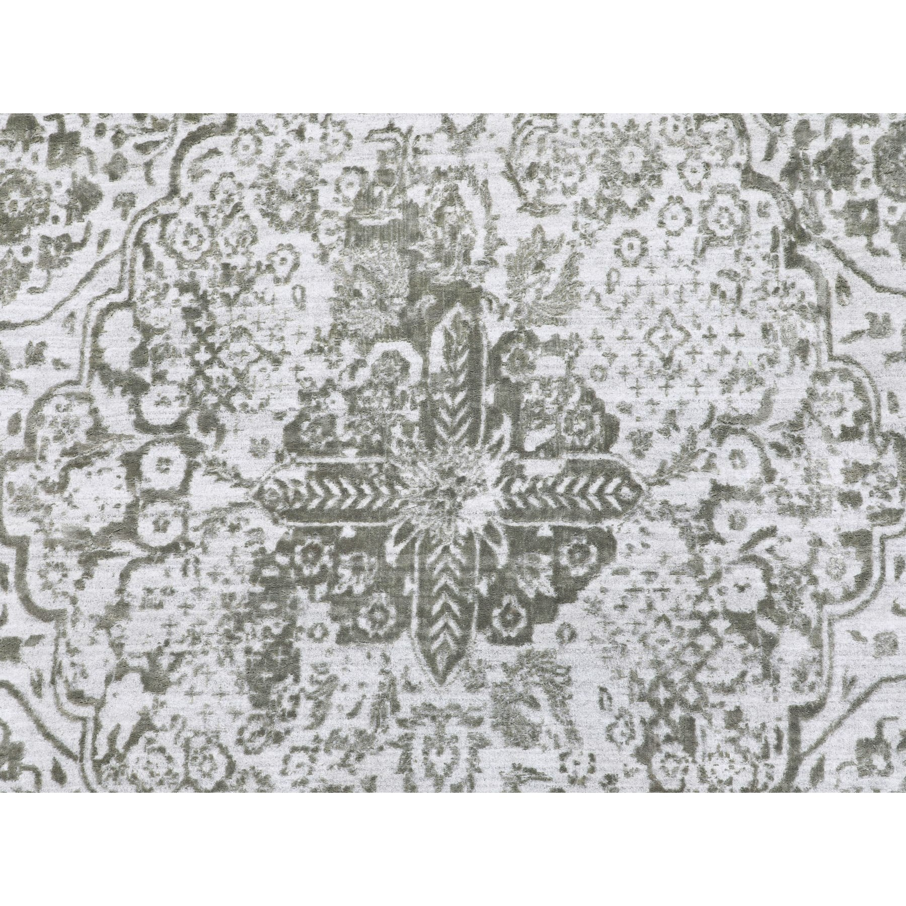 12'x18' Grey Broken Persian Design Wool And Pure Silk Hand Knotted Oriental Rug