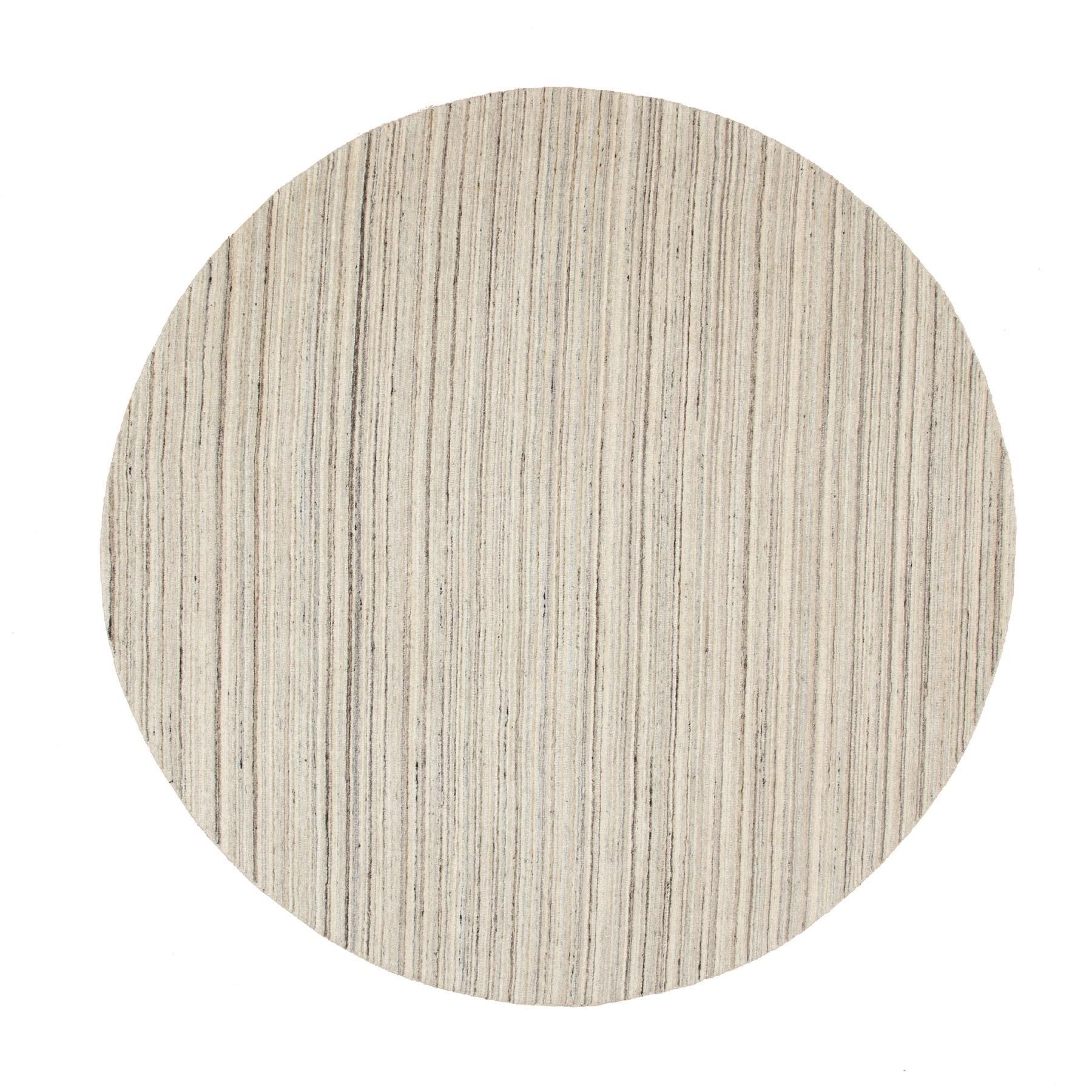 8'X8' Beige Hand Loomed Organic Wool Modern Round Oriental Rug moae8cd9