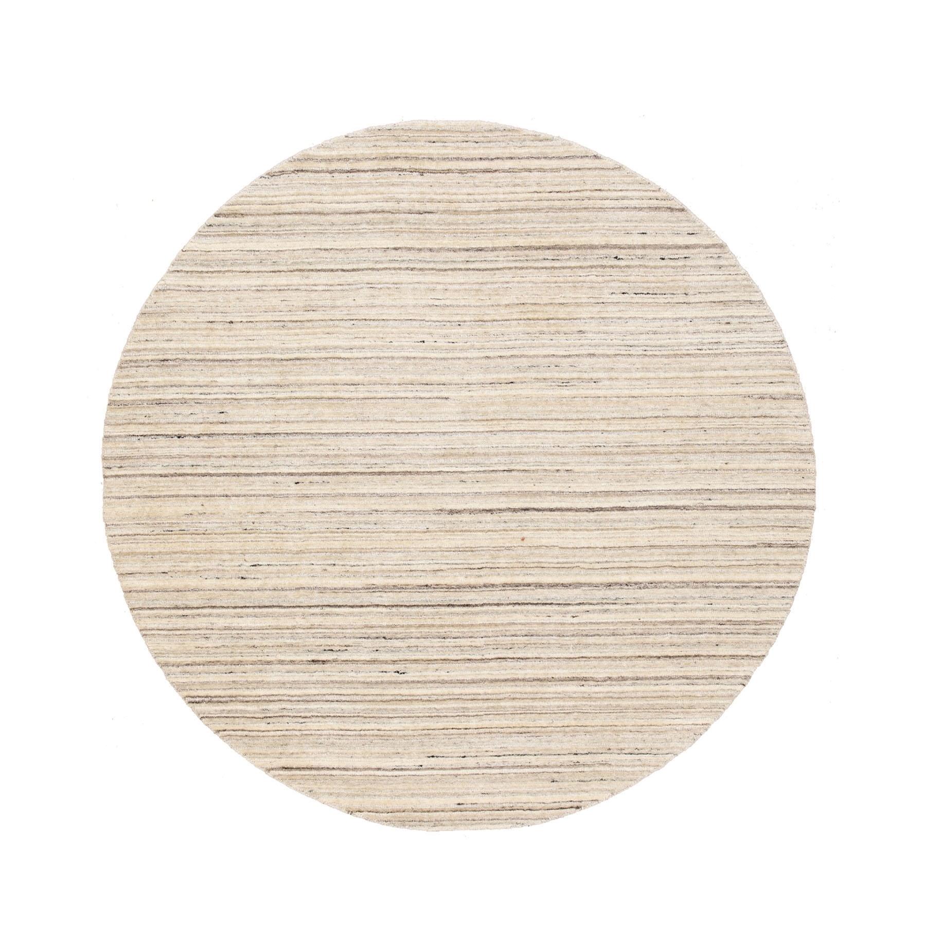 6'X6' Beige Hand Loomed Organic Wool Modern Round Oriental Rug moae8cec