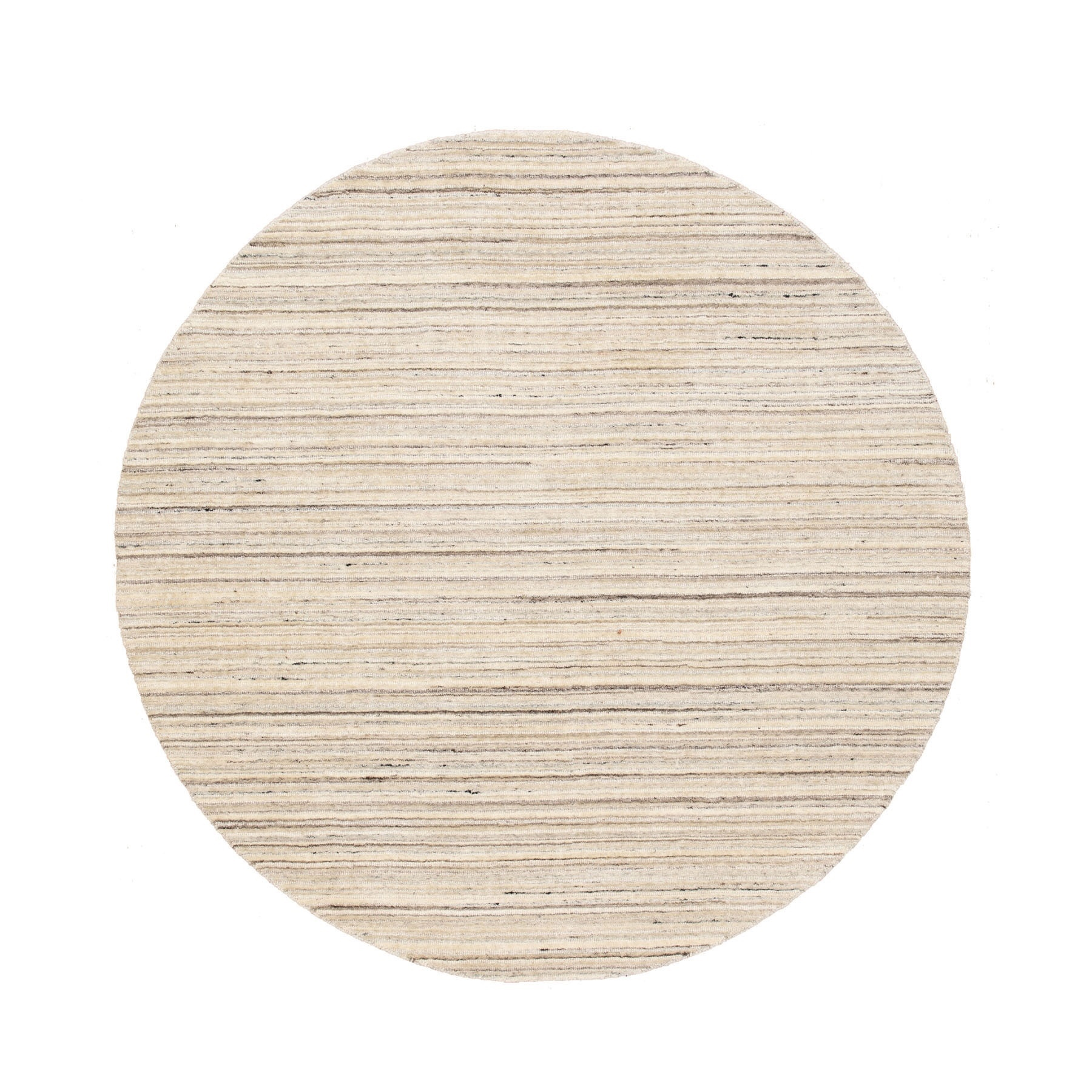 6'X6' Beige Hand Loomed Organic Wool Modern Round Oriental Rug moae8ced
