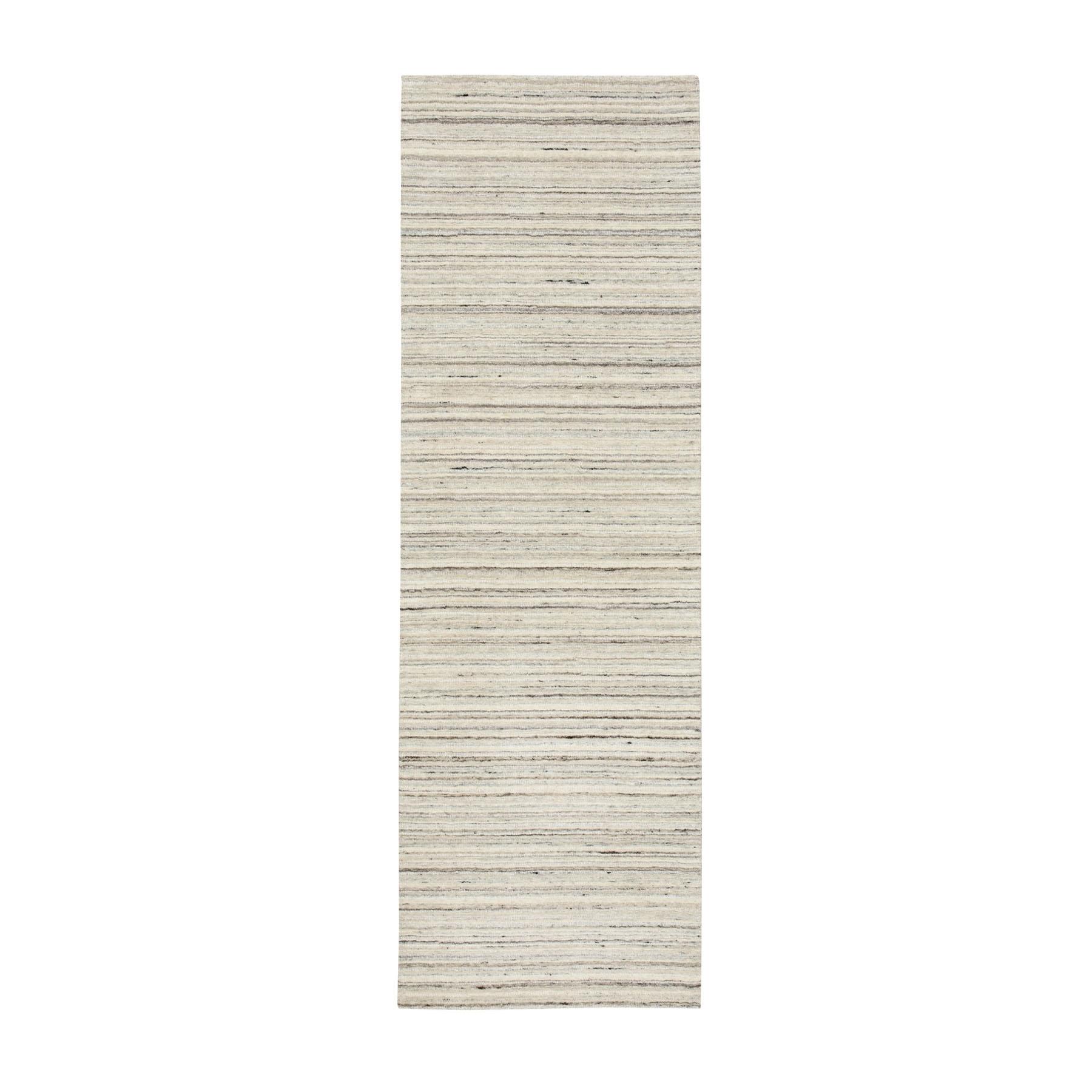 "2'5""X7'9"" Beige Hand Loomed Organic Wool Modern Runner Oriental Rug moae8ce6"