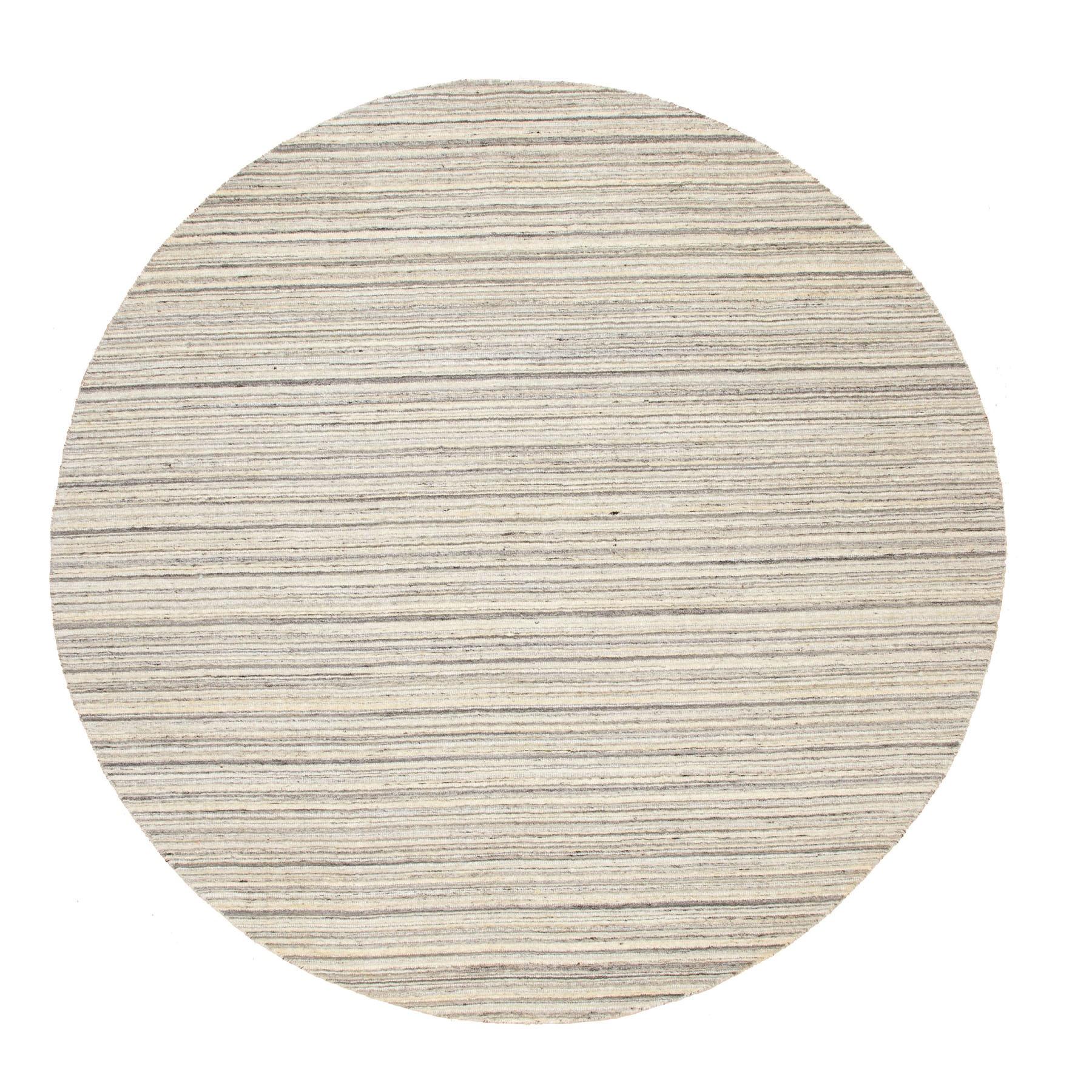 8'X8' Round Beige Hand Loomed Natural Wool Plain Modern Oriental Rug moae8c67