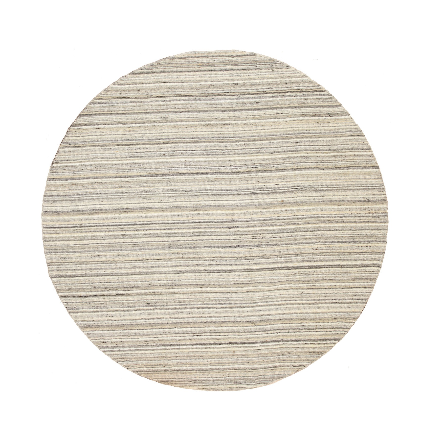 6'X6' Round Beige Hand Loomed Natural Wool Plain Modern Oriental Rug moae8c69