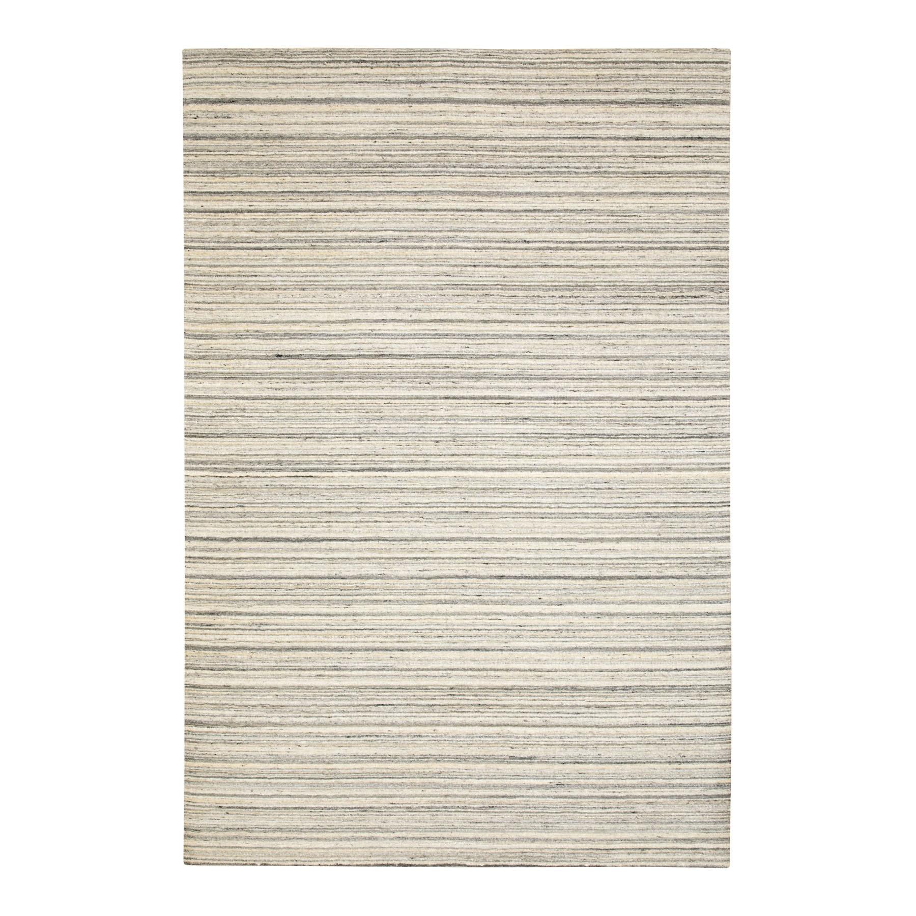 6'X9' Beige Hand Loomed Natural Wool Plain Modern Oriental Rug moae8c70
