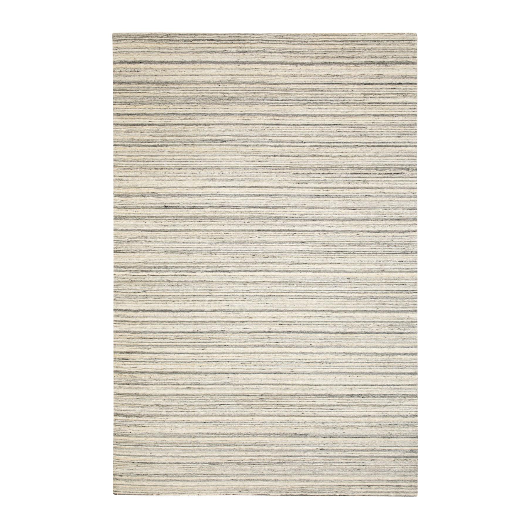 6'X9' Beige Hand Loomed Natural Wool Plain Modern Oriental Rug moae8c77
