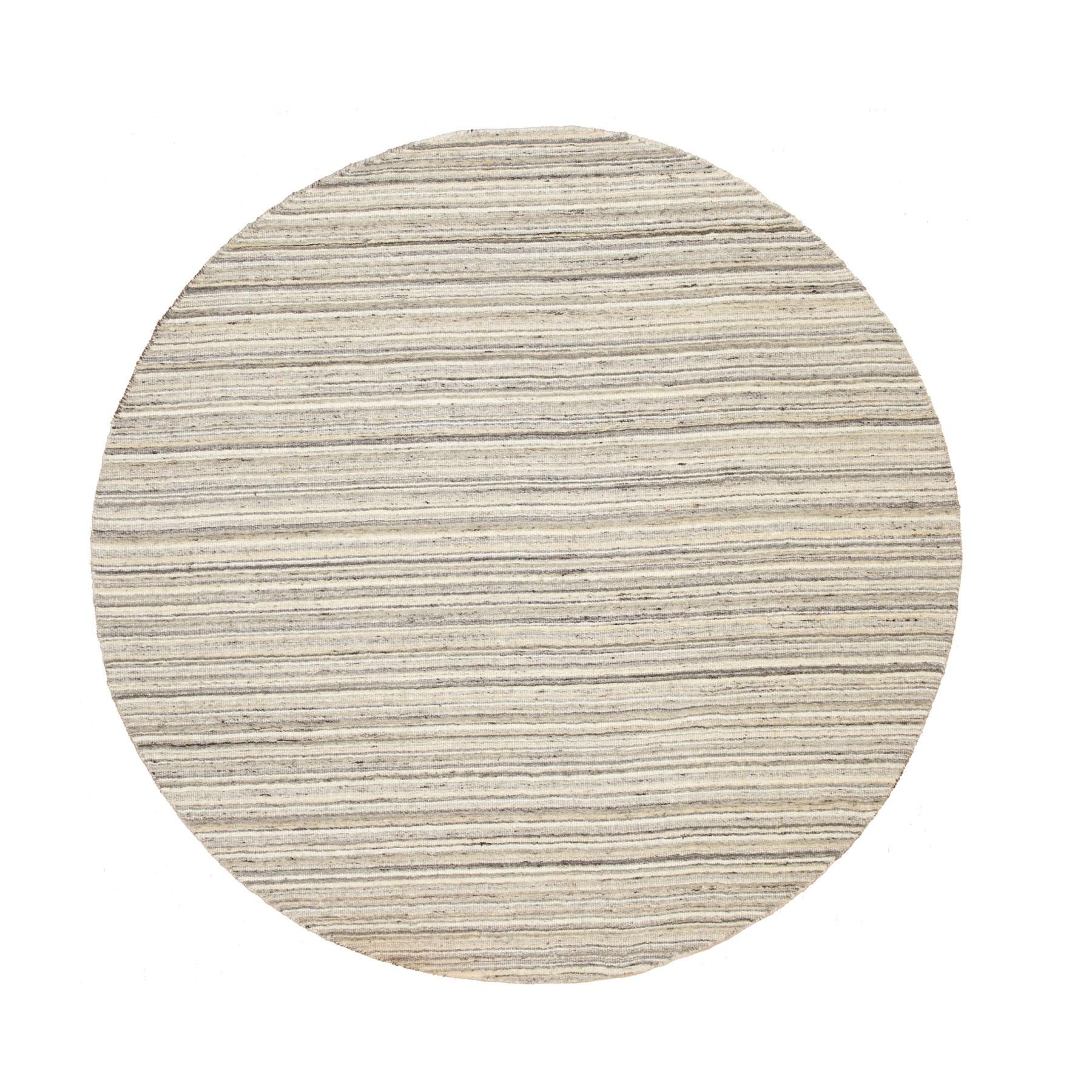 "6'1""X6'1"" Round Beige Hand Loomed Natural Wool Plain Modern Oriental Rug moae8c80"