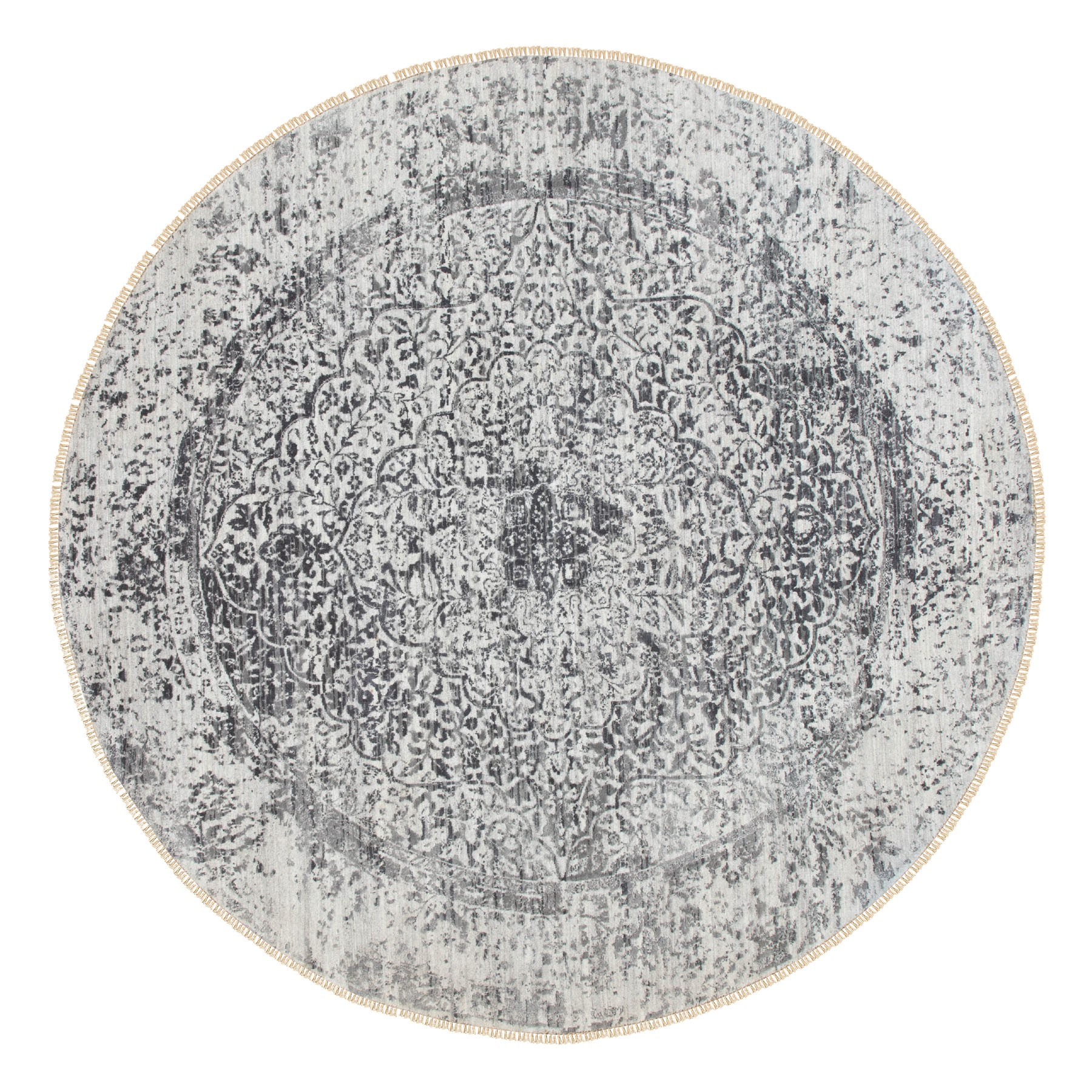 8'X8' Round Broken Persian Design Wool And Pure Silk Hand Knotted Oriental Rug moae8c8e