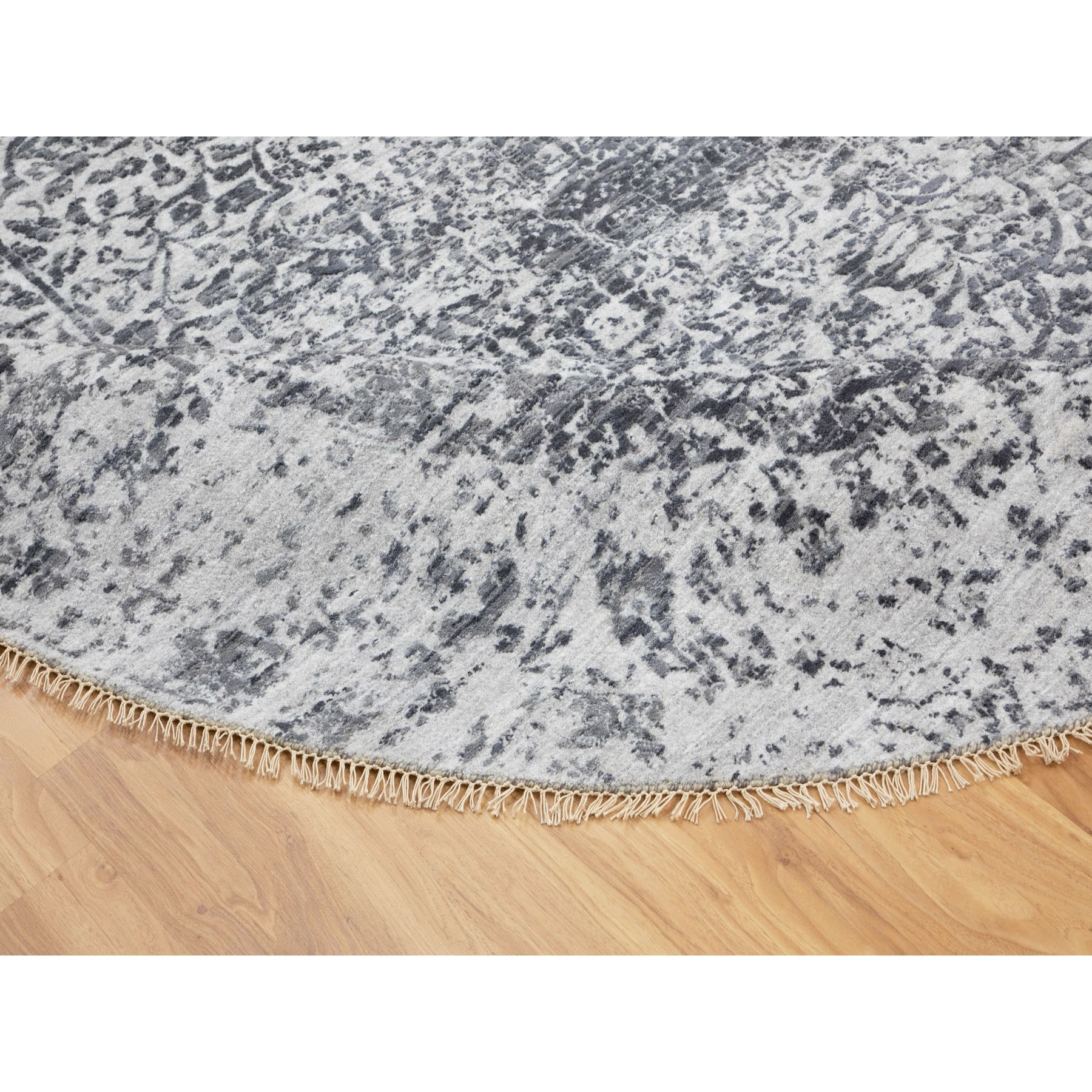 8'x8' Round Broken Persian Design Wool and Pure Silk Hand Knotted Oriental Rug