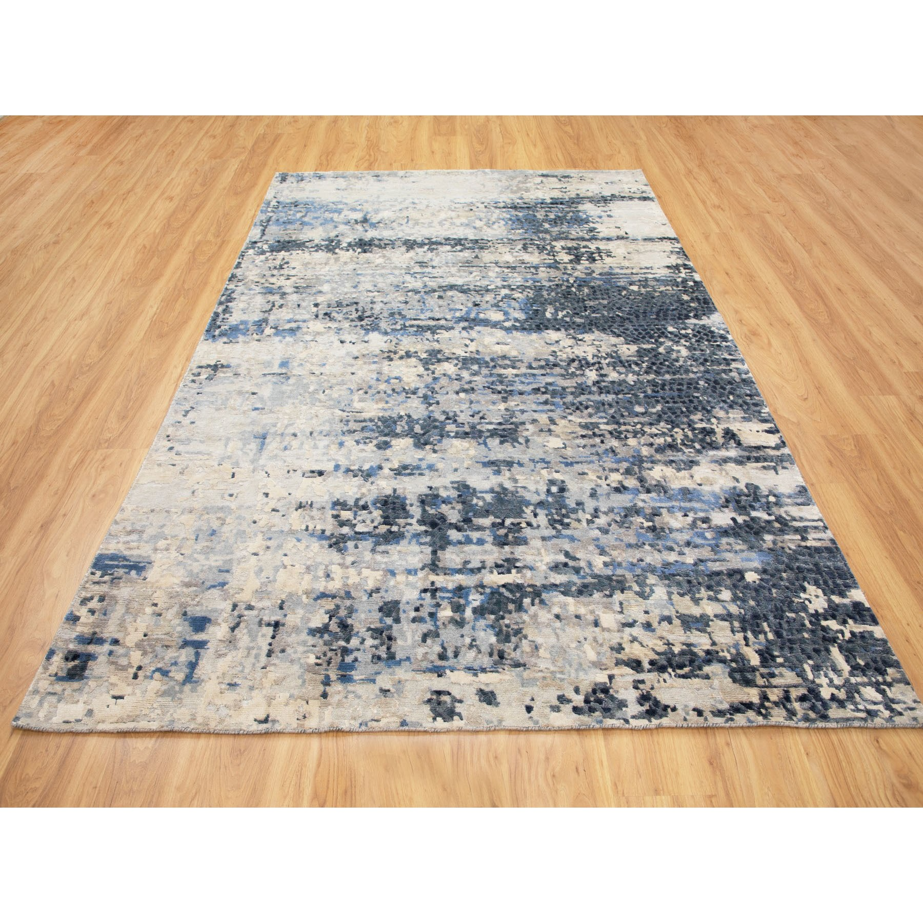 """6'x9'3"""" Abstract With Mosaic Design Wool And Silk Hand Knotted Oriental Rug"""