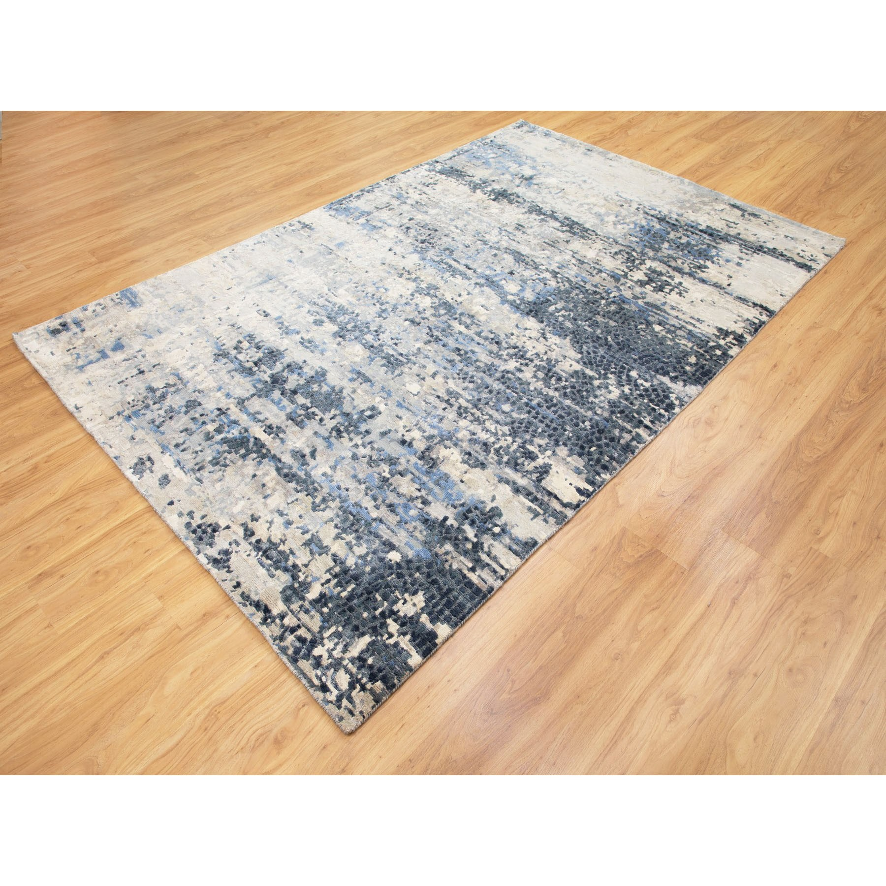 "6'x9'3"" Abstract With Mosaic Design Wool And Silk Hand Knotted Oriental Rug"