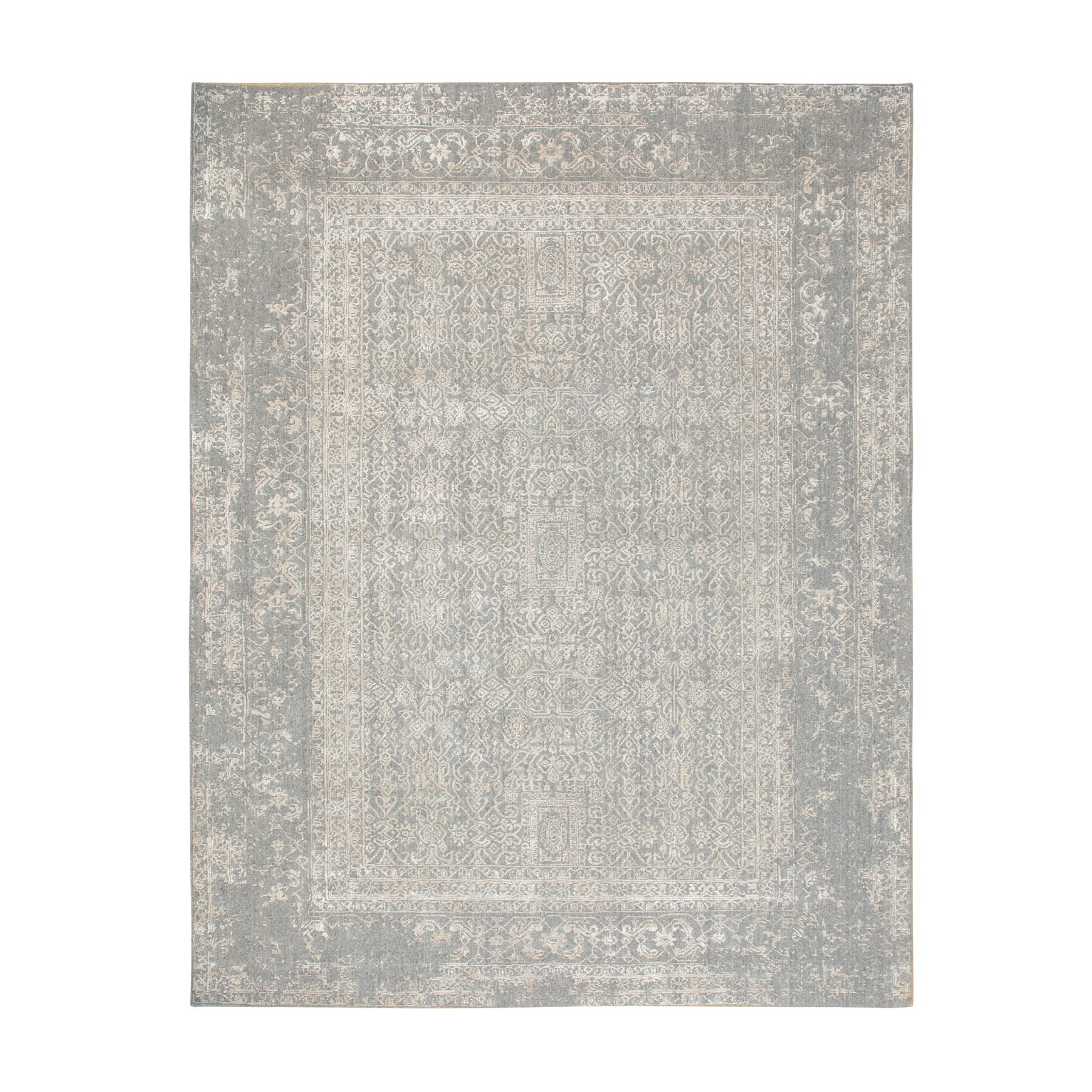 "7'10""x10'2"" Gray Fine jacquard Hand Loomed Modern Wool And Art Silk Oriental Rug"