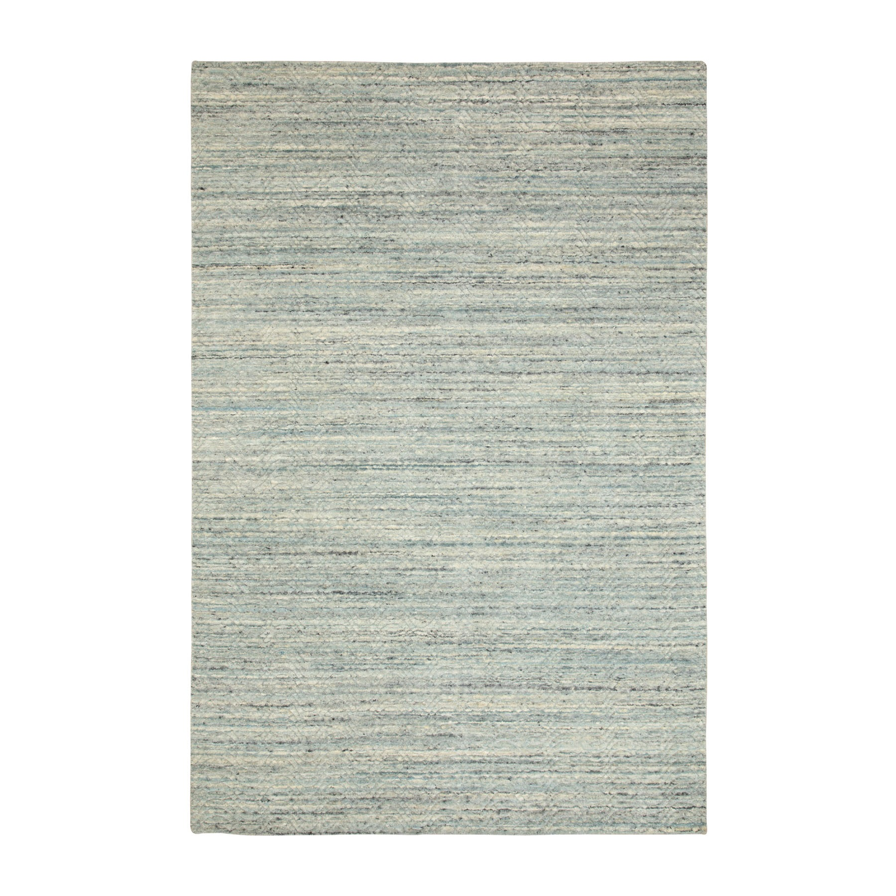 6'x9' Green Variegated Design Hand Loomed Pure Wool Modern Oriental Rug