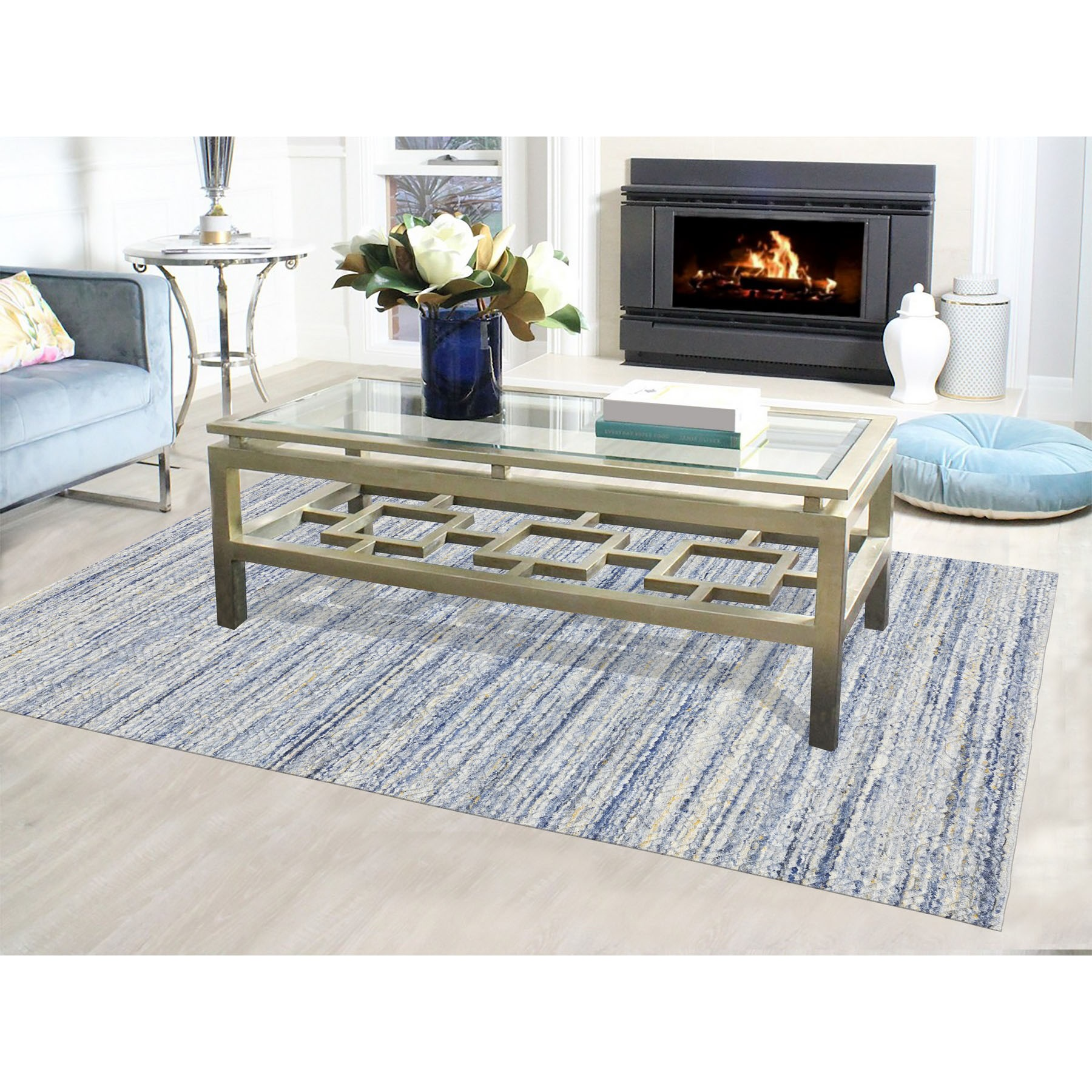 "6'x8'10"" Blue Variegated Design Hand Loomed Pure Wool Modern Oriental Rug"