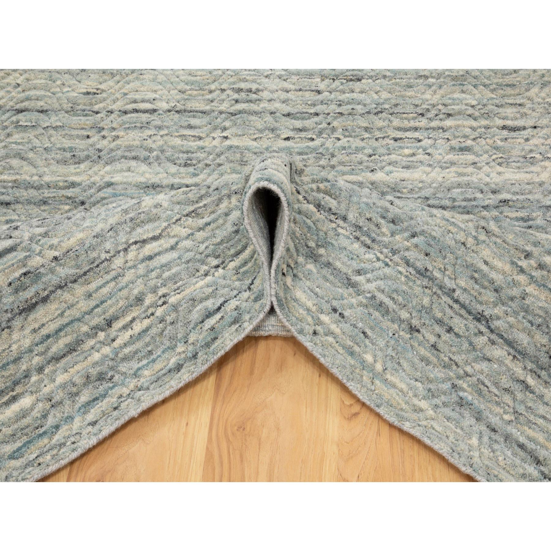 "6'x8'10"" Green Variegated Design Hand Loomed Pure Wool Modern Oriental Rug"