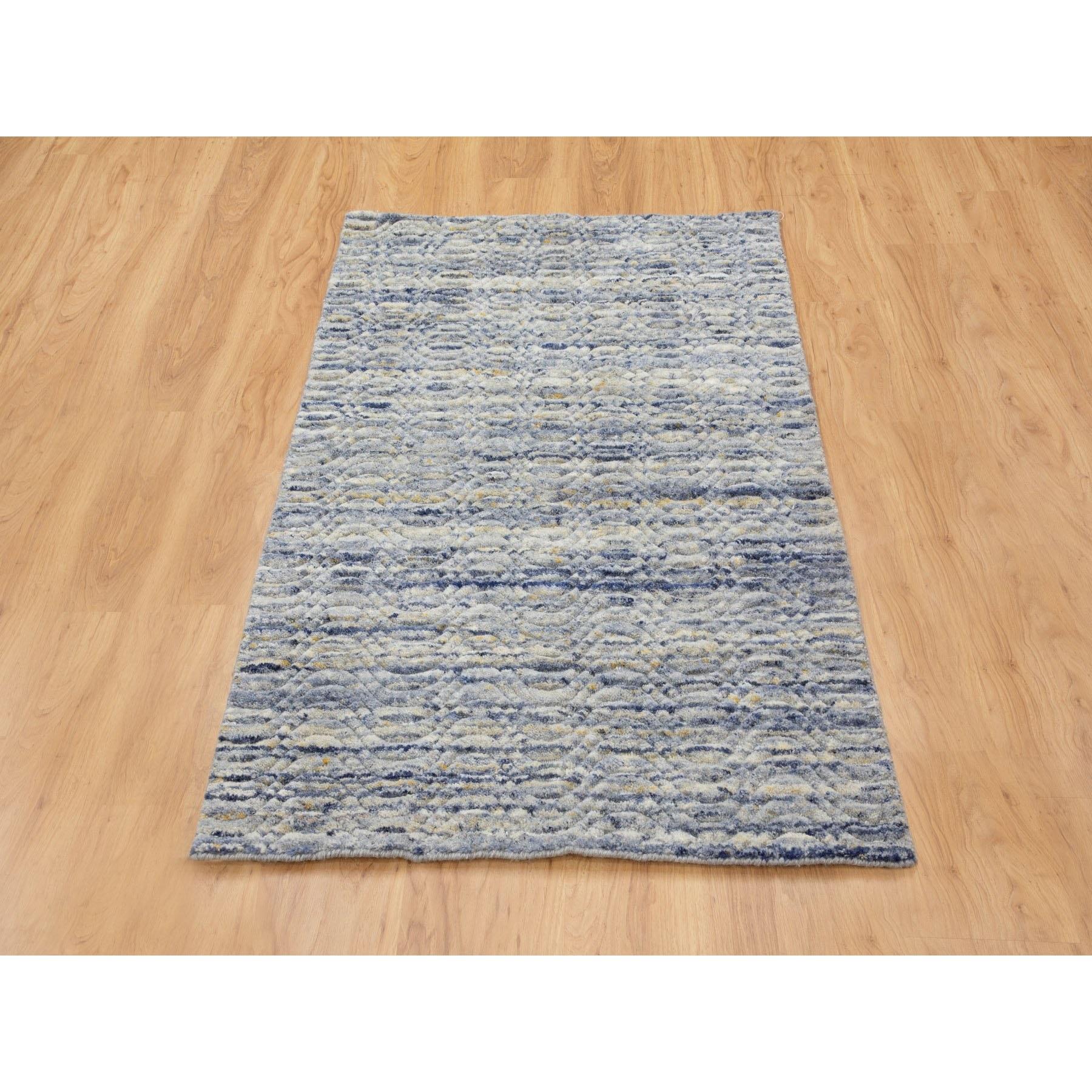 3'x5' Blue Variegated Design Hand Loomed Pure Wool Modern Oriental Rug