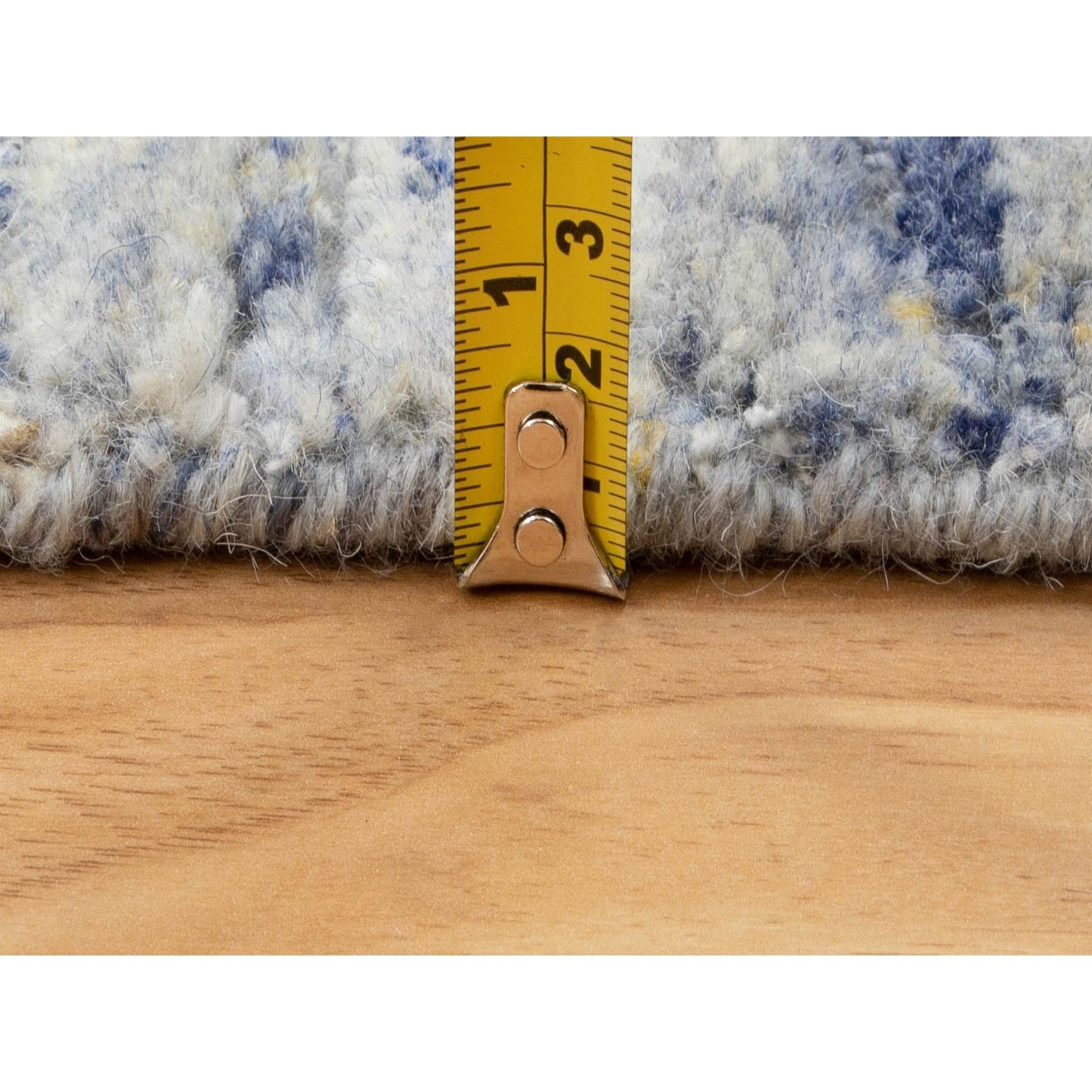 "2'6""x8' Blue Variegated Design Hand Loomed Runner Pure Wool Modern Oriental Rug"