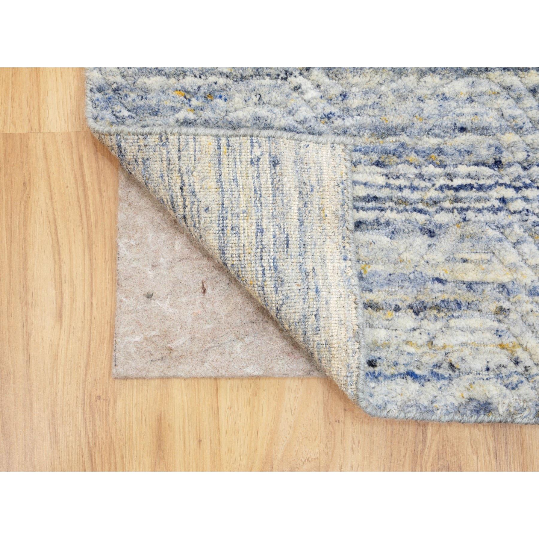 "2'7""x7'10"" Blue Variegated Design Hand Loomed Runner Pure Wool Modern Oriental Rug"