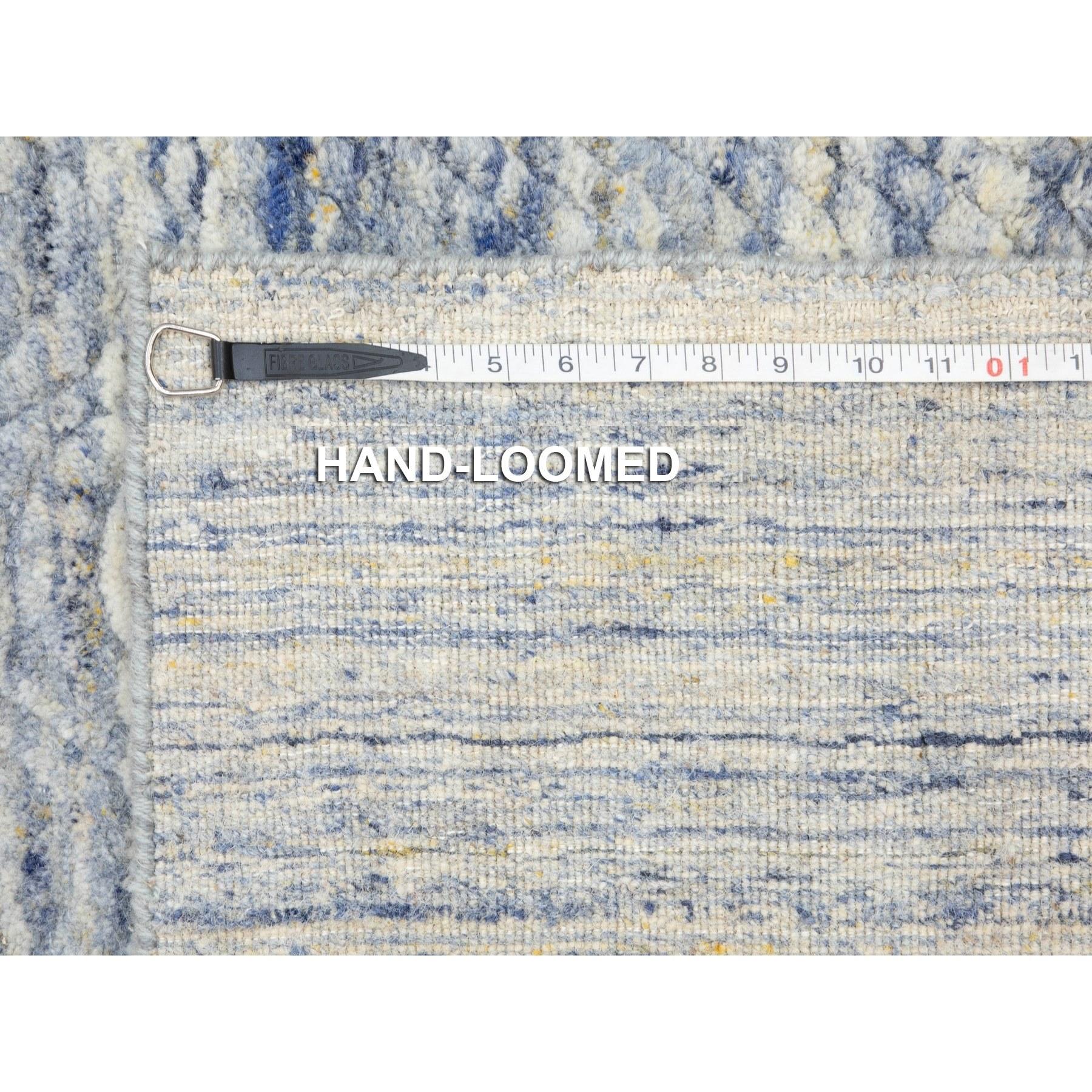 "2'6""x5'10"" Blue Variegated Design Hand Loomed Runner Pure Wool Modern Oriental Rug"