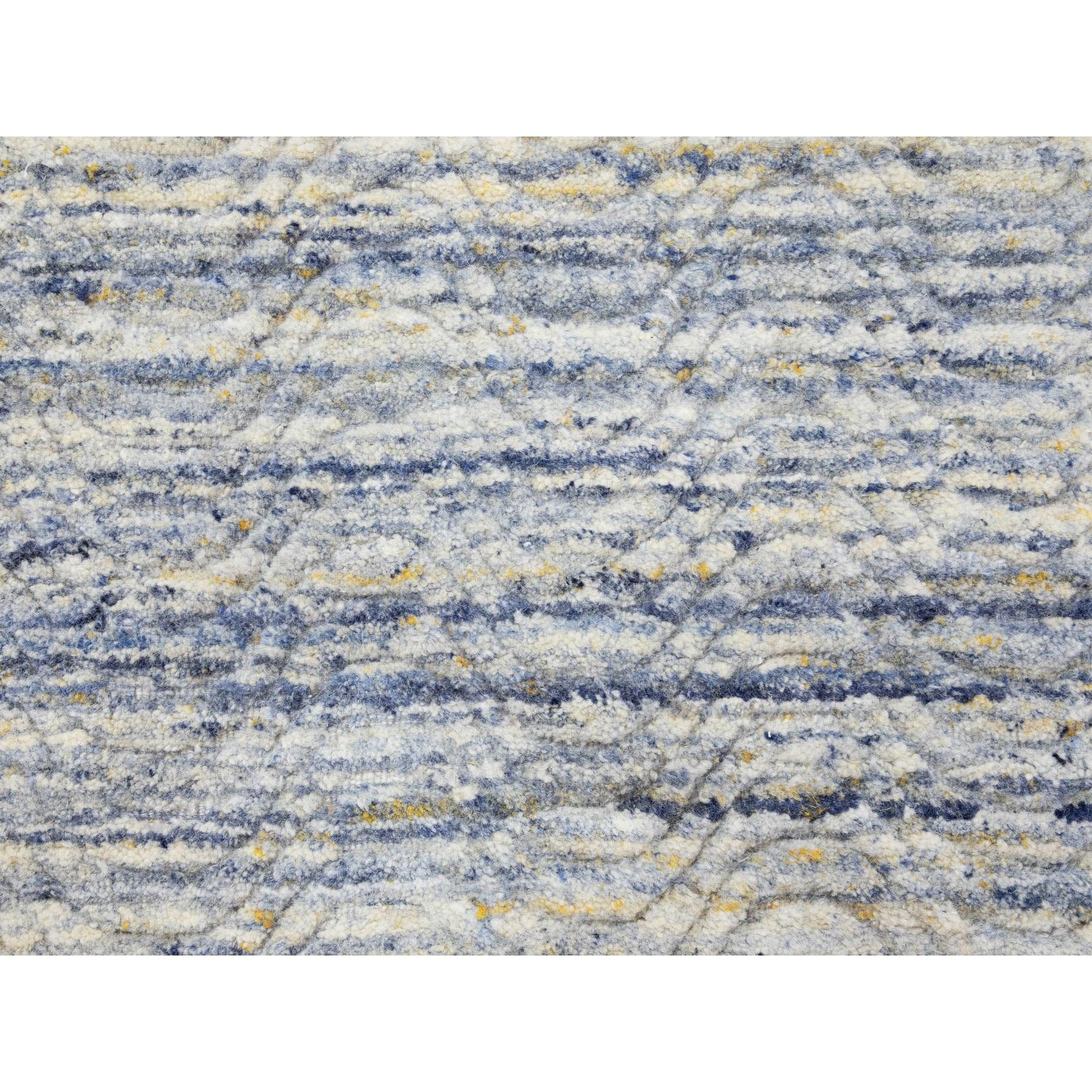 "2'6""x9'9"" Blue Variegated Design Hand Loomed Runner Pure Wool Modern Oriental Rug"