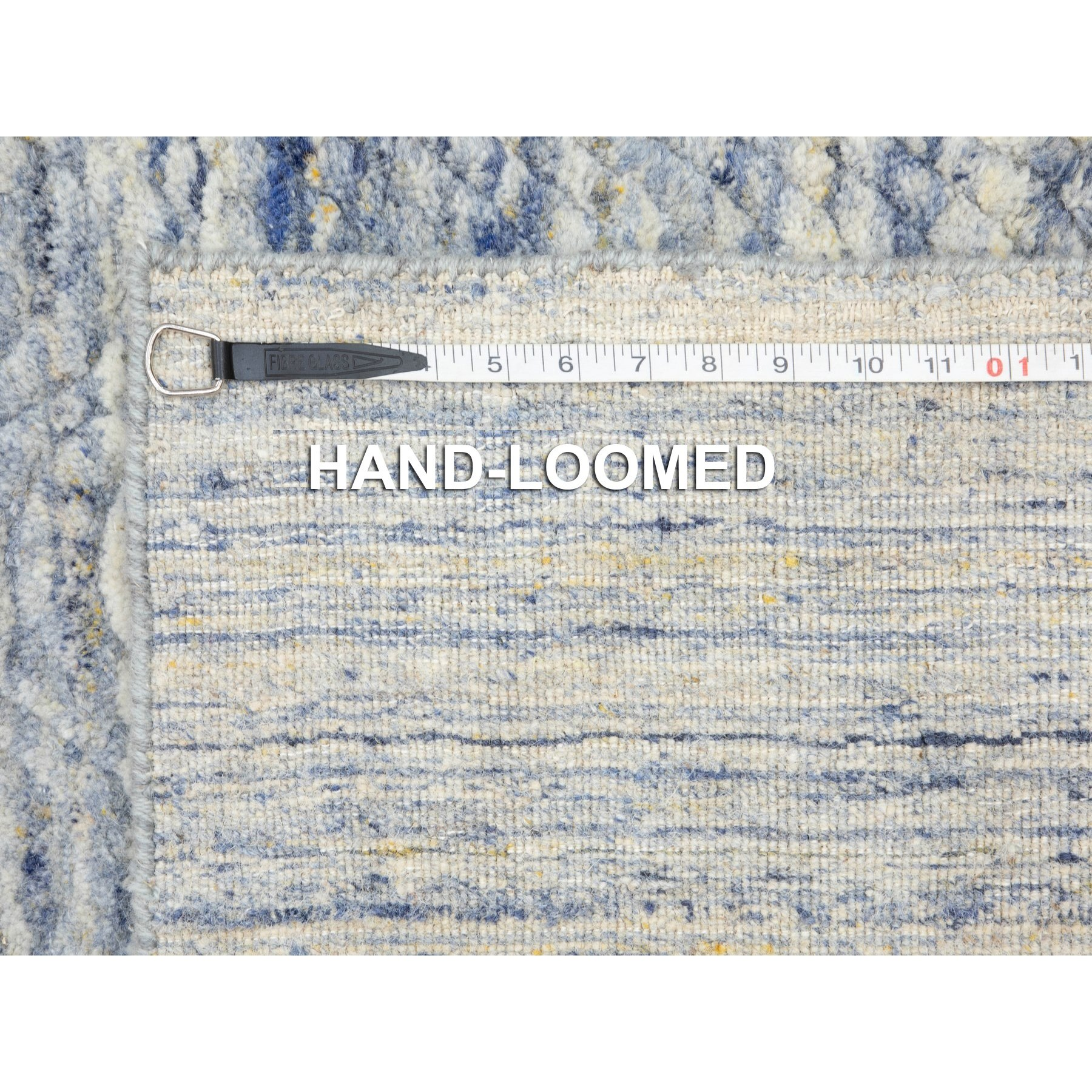 "2'6""x11'9"" Blue Variegated Design Hand Loomed Runner Pure Wool Modern Oriental Rug"
