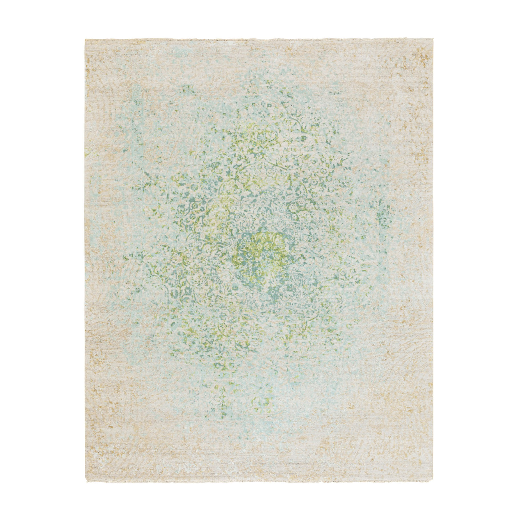 8'X10' Ivory Touch Of Green Pure Silk With Textured Wool Hand Knotted Oriental Rug moae8d06