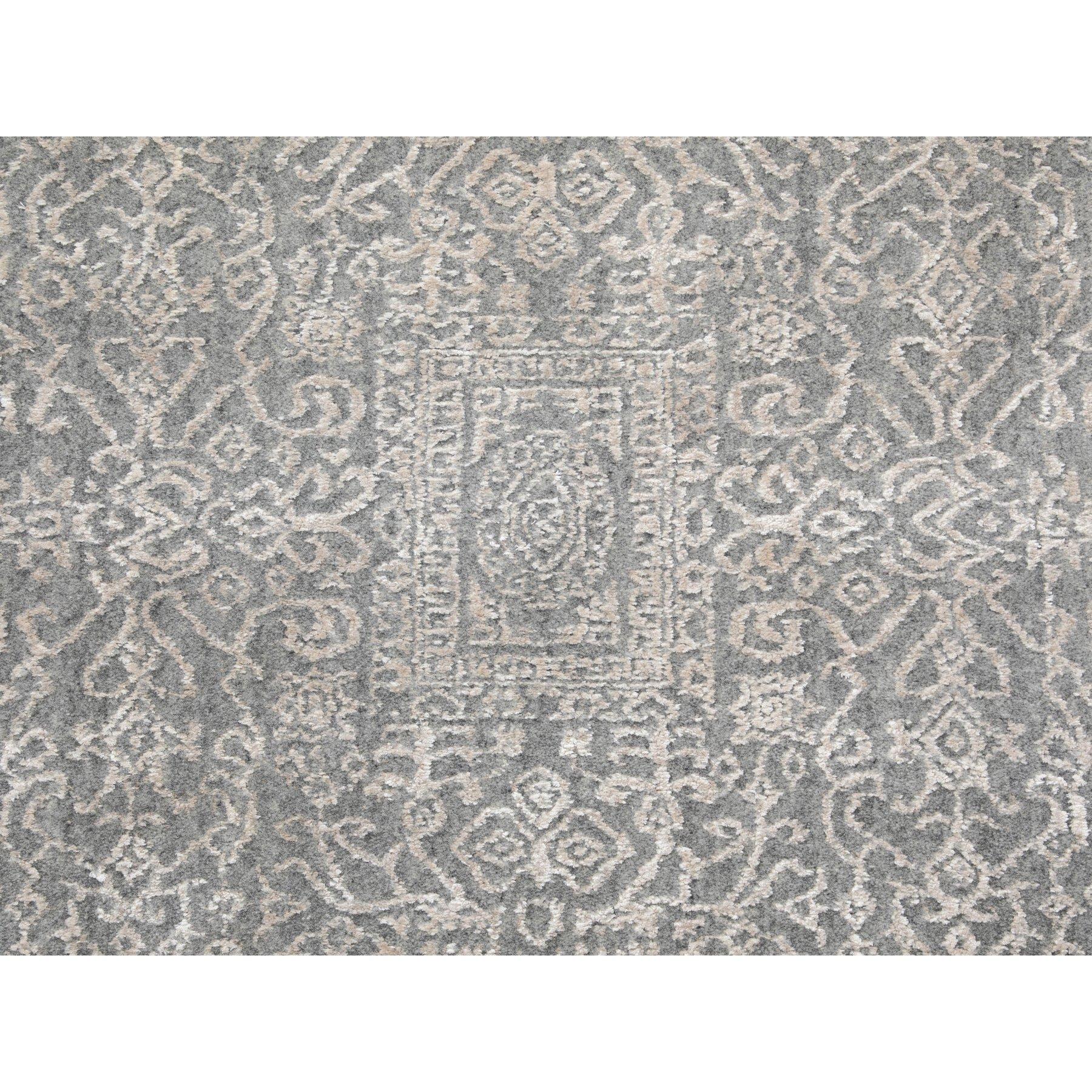 "5'10""x9'1"" Gray Fine jacquard Hand Loomed Modern Wool And Art Silk Oriental Rug"
